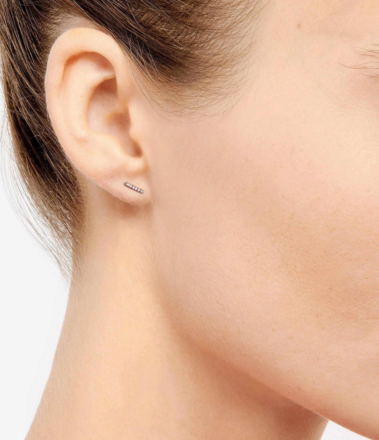 NAVA JOAILLERIE - Boucle d'oreille Barrette Hash Or Rose (vendue à l'unité)