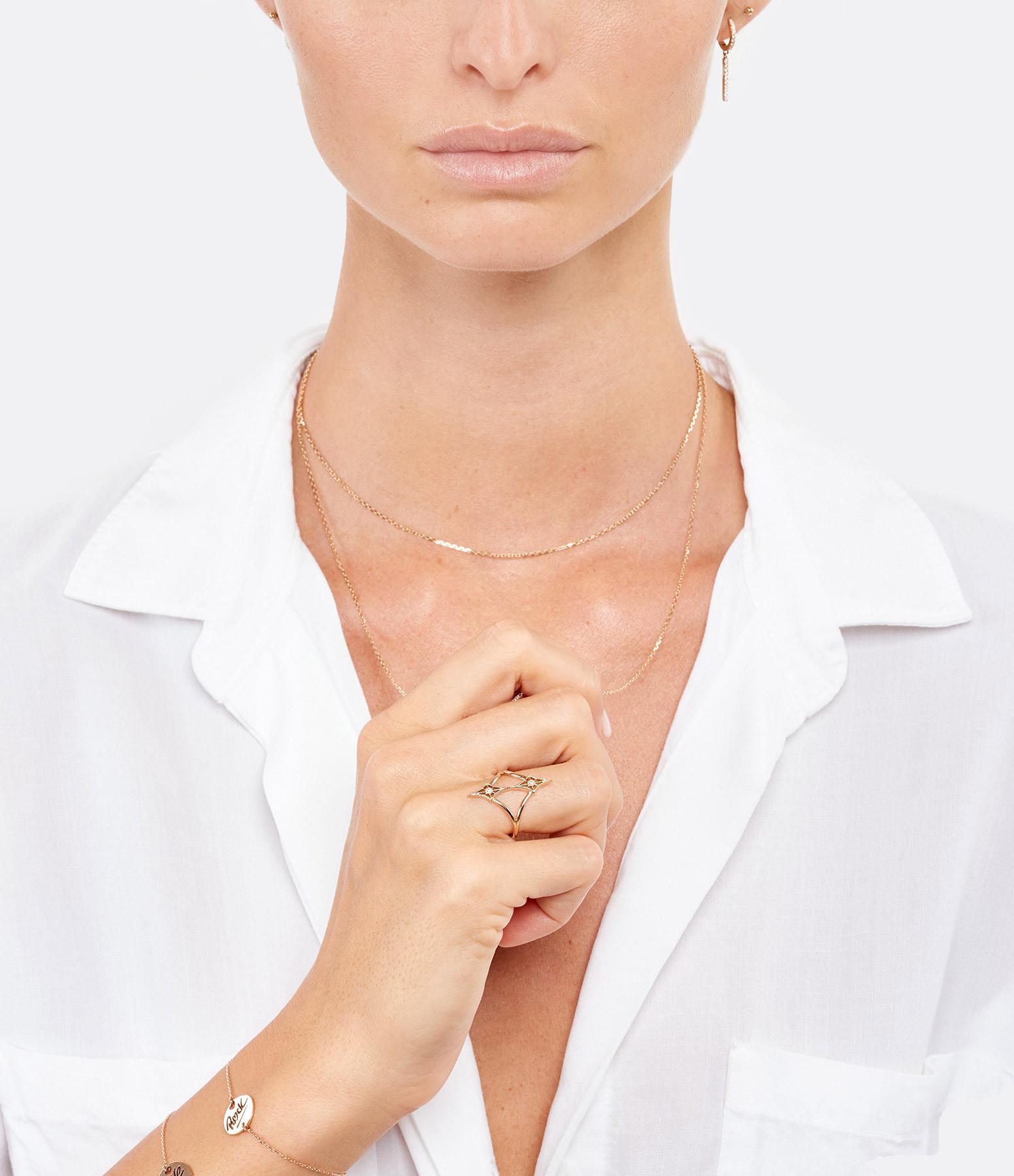 NAVA JOAILLERIE - Bague Cheyenne Losange Double Diamants Or Rose