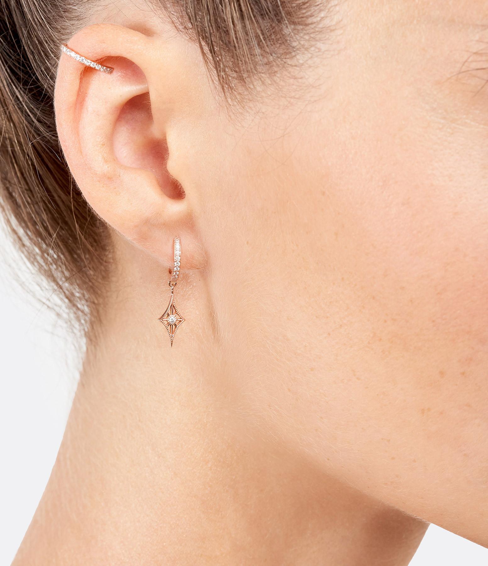 NAVA JOAILLERIE - Boucle d'oreille Cheyenne Losange Diamants Or Rose