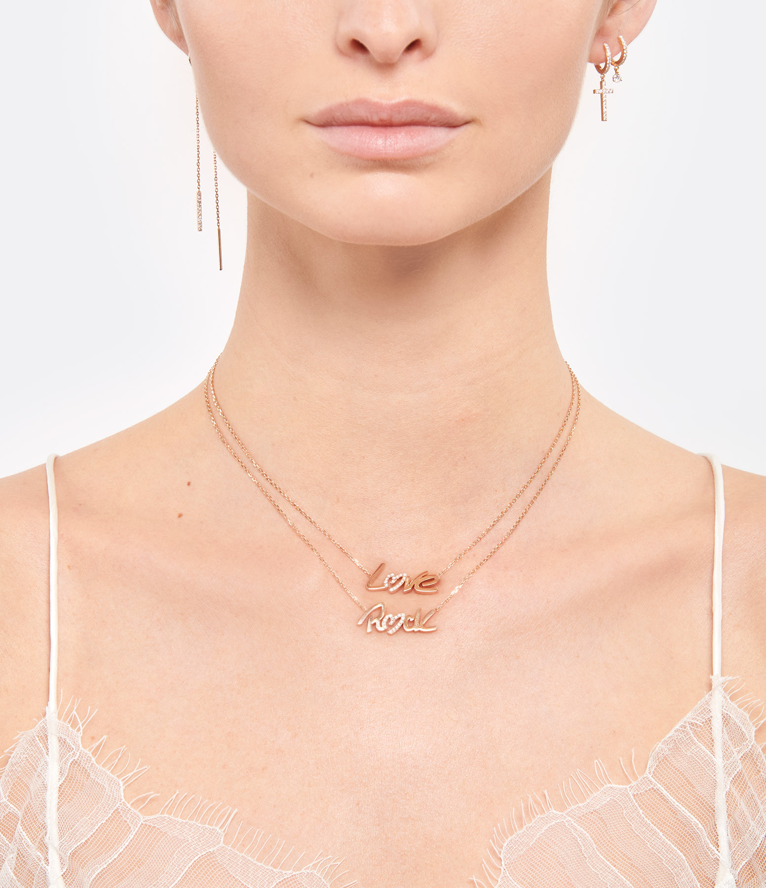 NAVA JOAILLERIE - Collier Love Diamant Or Rose