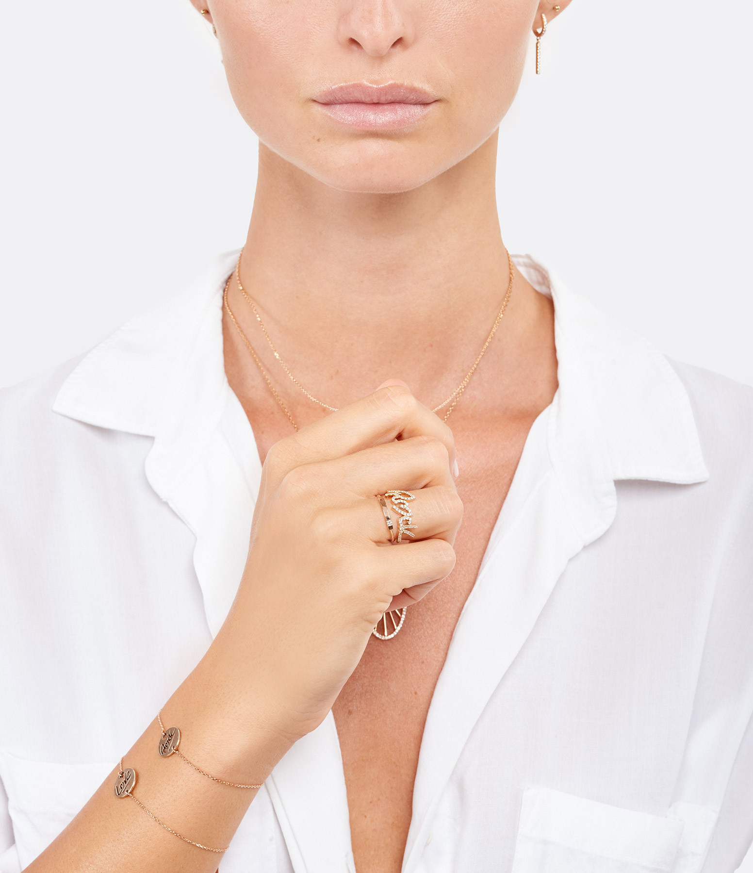 NAVA JOAILLERIE - Bague Demi-Alliance Hash Diamants Or Rose