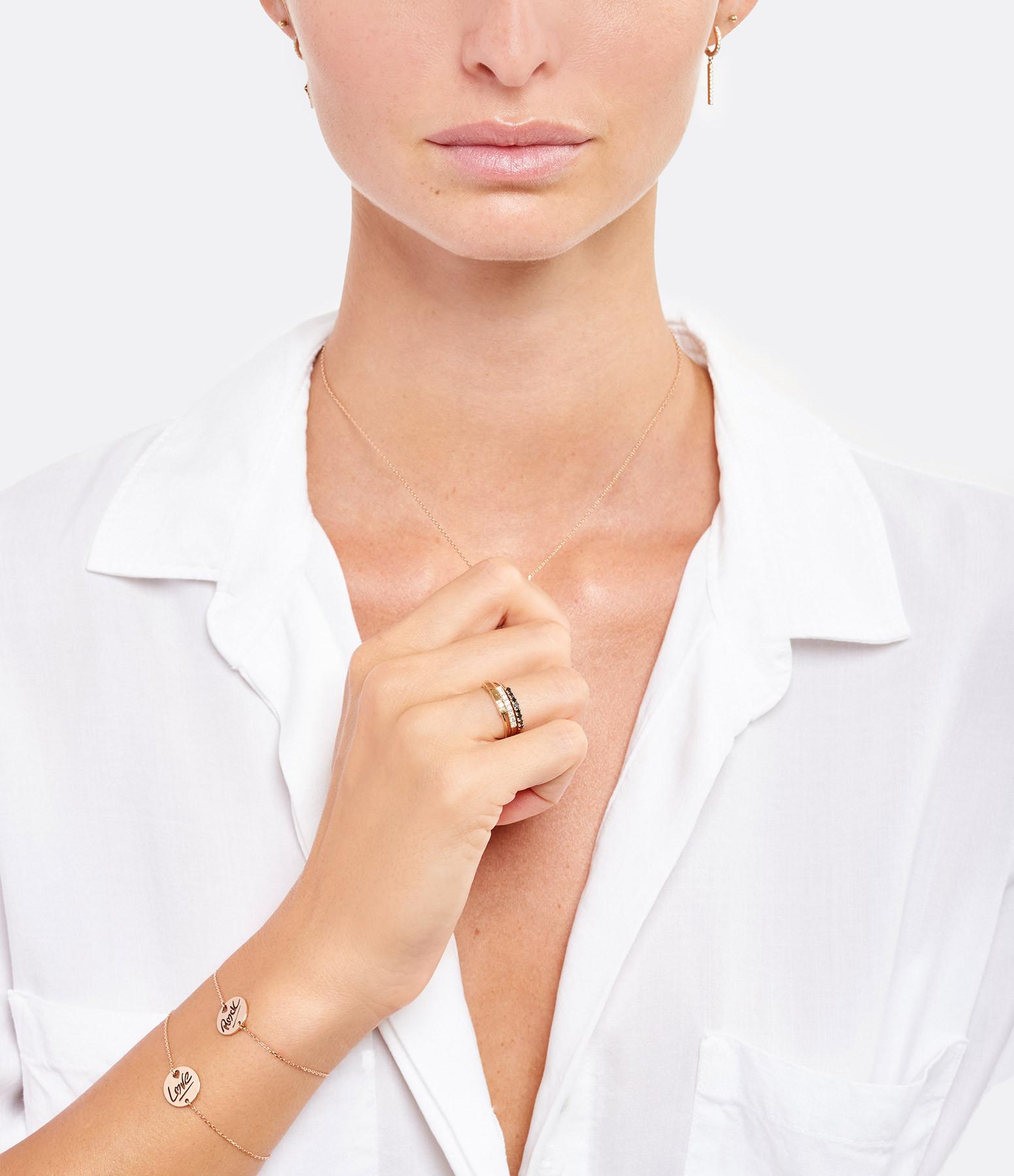 NAVA JOAILLERIE - Bague Demi-Alliance Hash Diamants Noirs Or Blanc