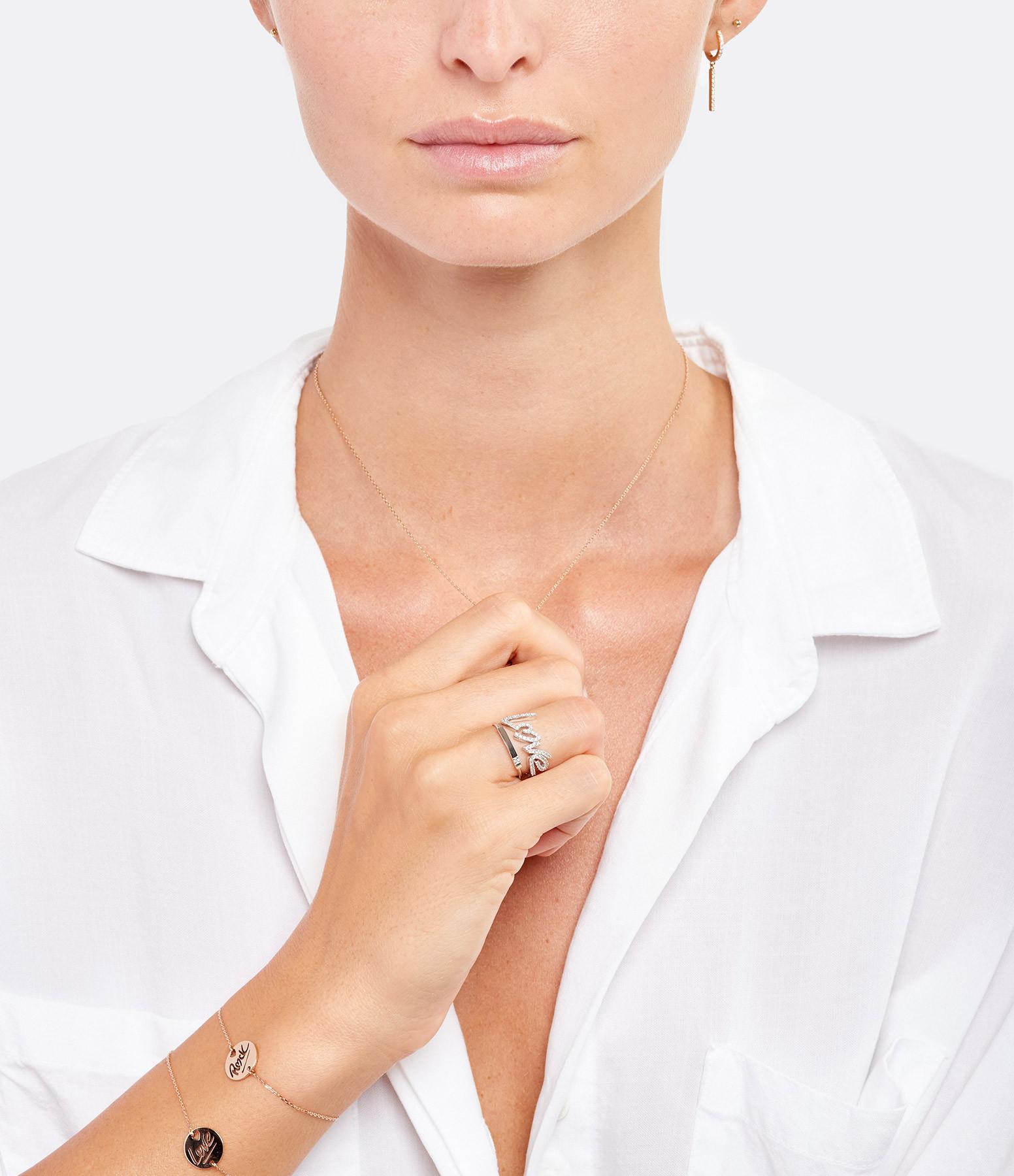 NAVA JOAILLERIE - Bague Demi-Alliance Hash Diamants Or Blanc