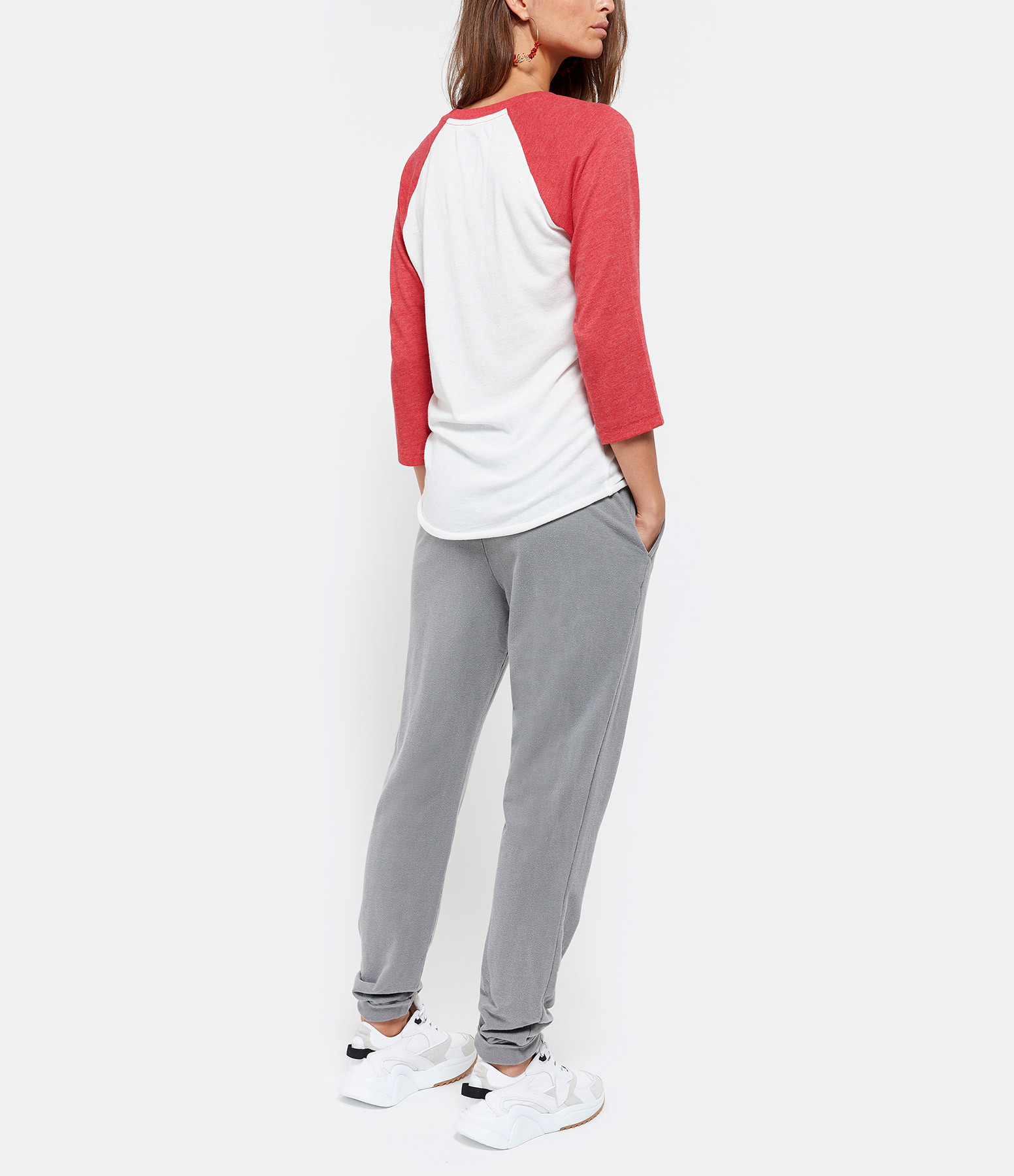 NEWTONE - Tee-shirt Baseball Bady Doll Coton Rouge Beige