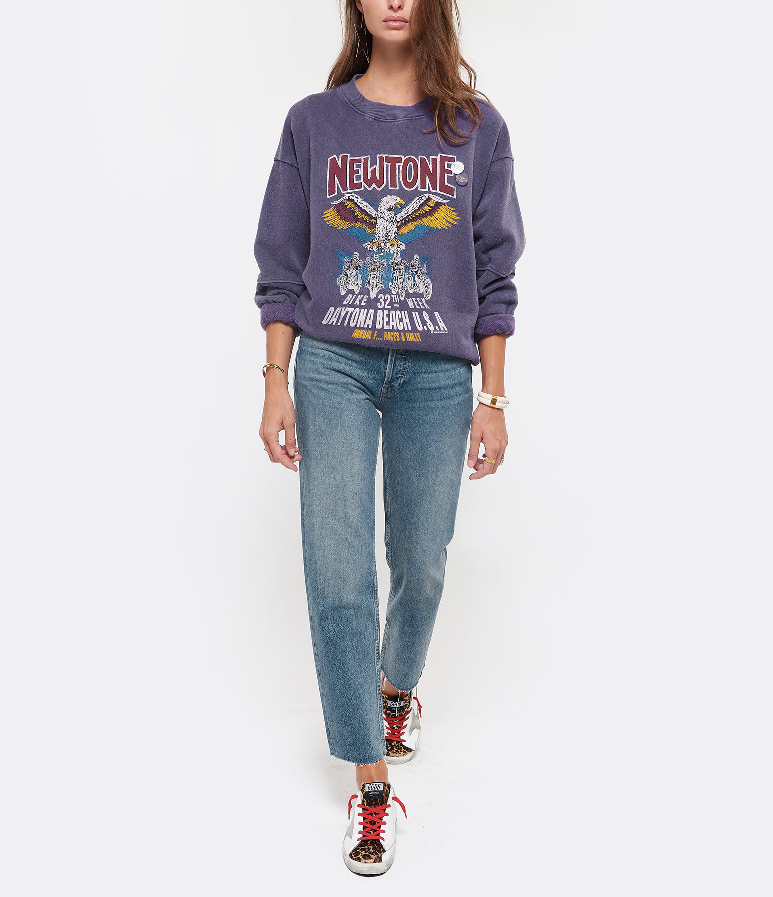 NEWTONE - Sweatshirt Roller Convention Coton Violet Grappe
