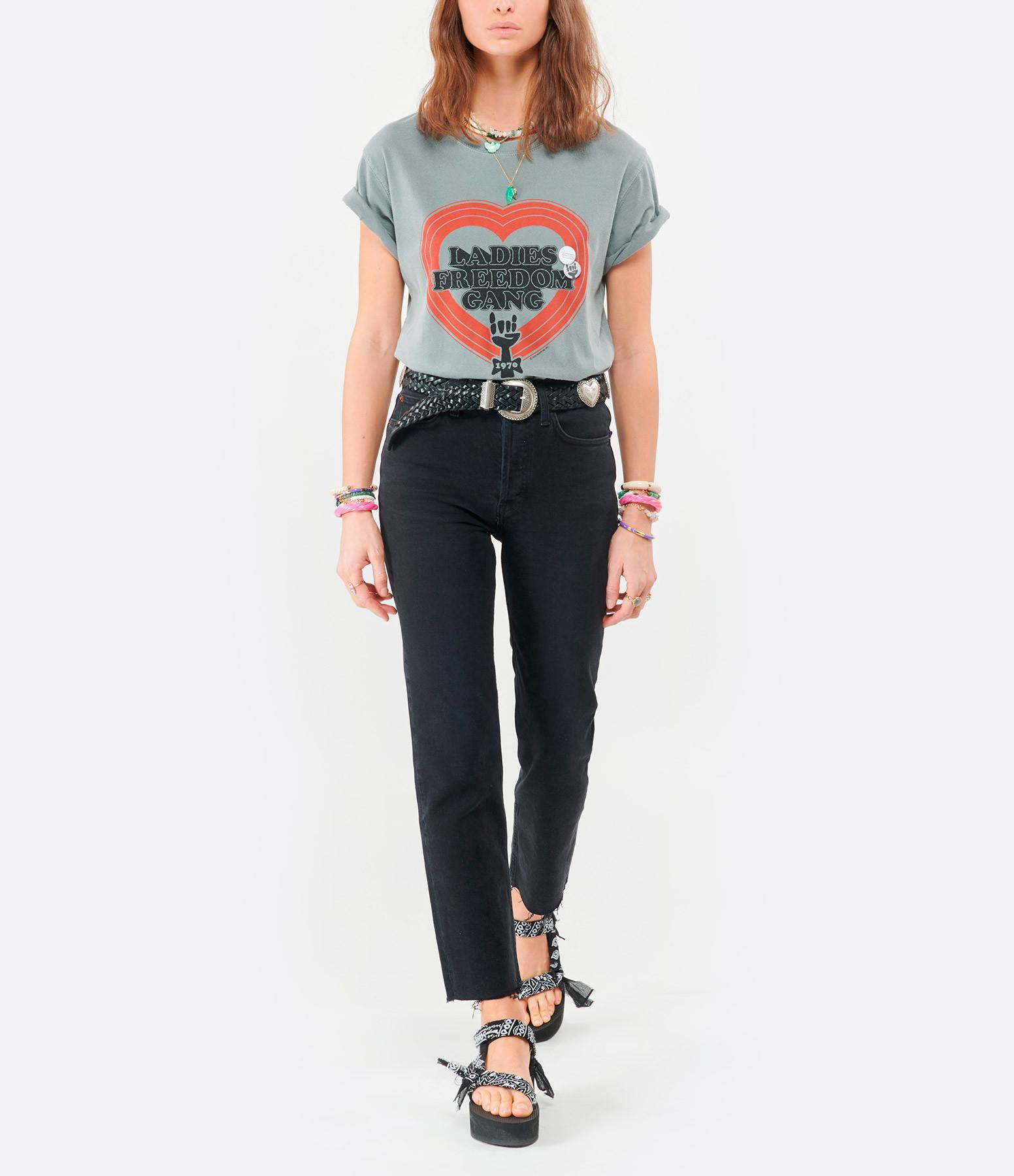 NEWTONE - Tee-shirt Trucker Freedom Coton Gris