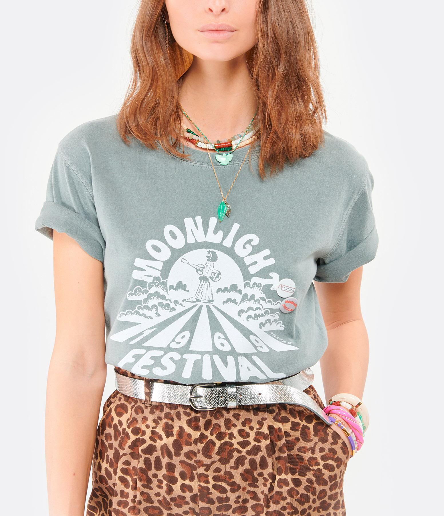 NEWTONE - Tee-shirt Trucker Moonlight Coton Gris