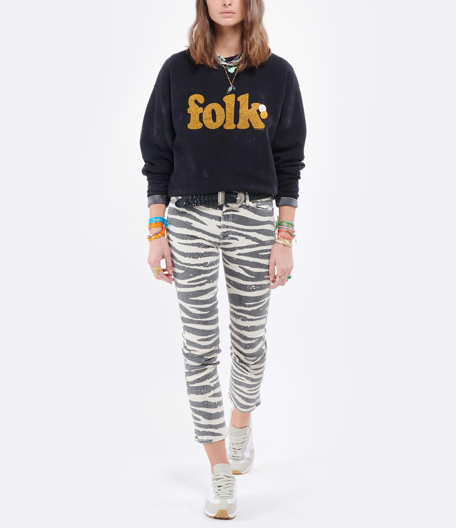 NEWTONE - Sweatshirt Roller Folk Coton Noir