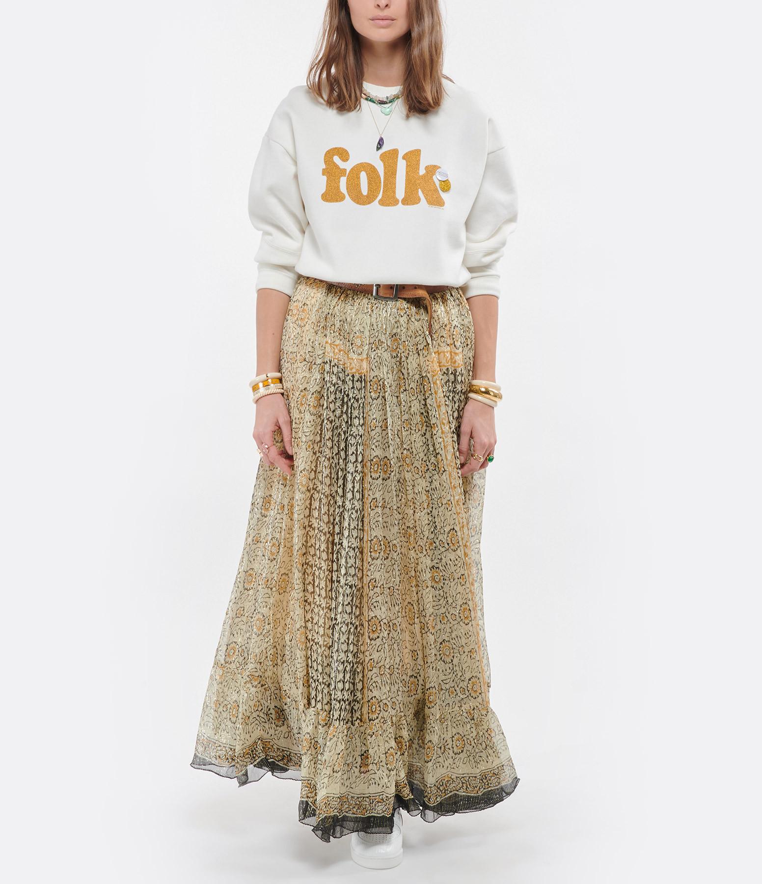 NEWTONE - Sweatshirt Roller Folk Coton Écru