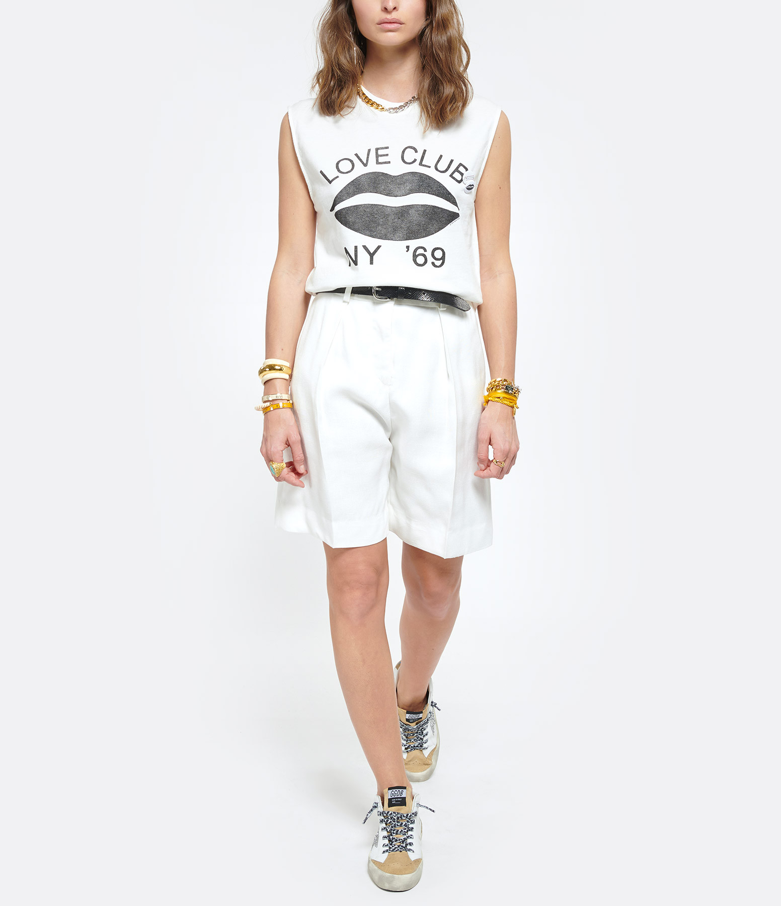 NEWTONE - Tee-shirt Biker Love Club Coton Blanc