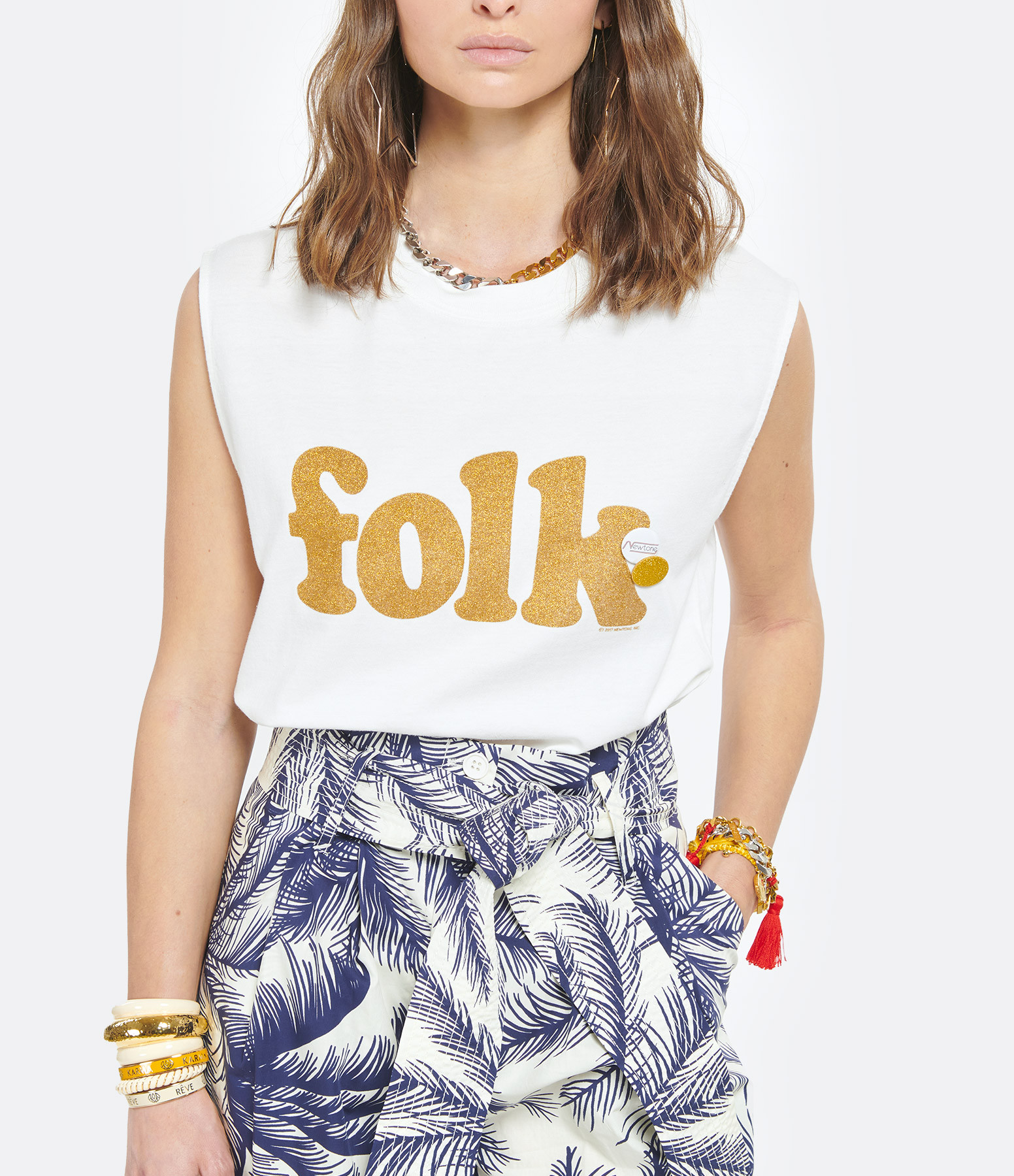 NEWTONE - Tee-shirt Biker Folk Coton Écru