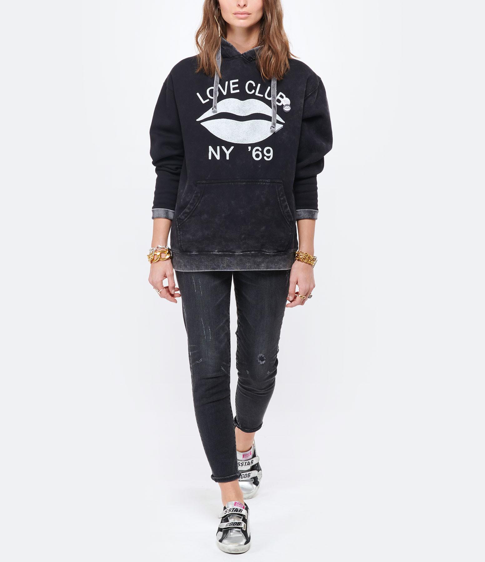 NEWTONE - Sweatshirt Hoodie Love Club Coton Noir
