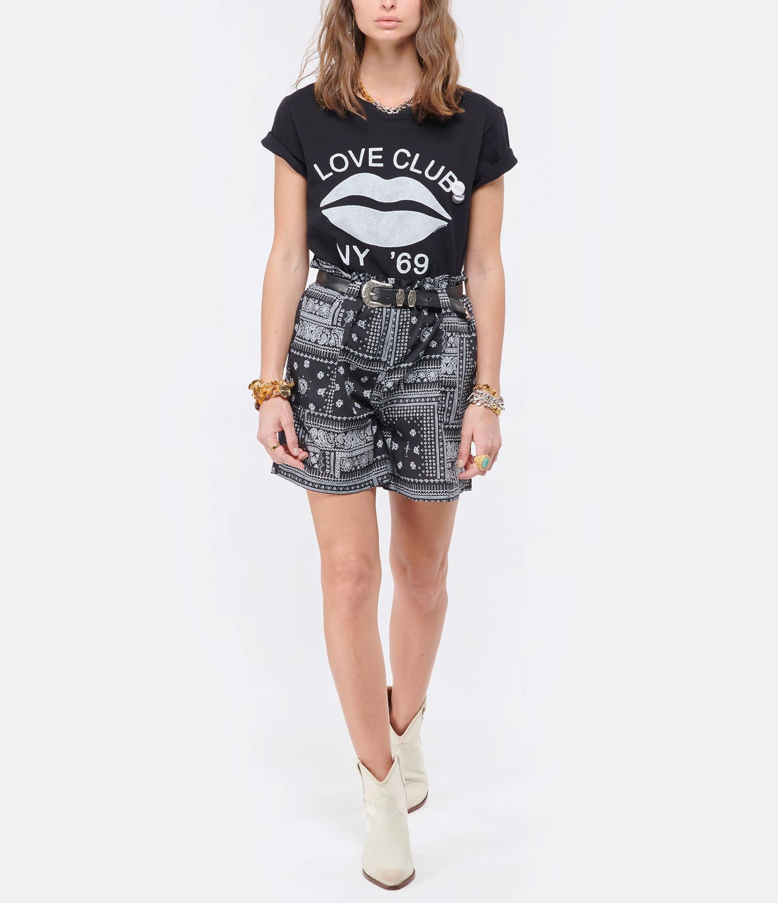 NEWTONE - Tee-shirt Starlight Love Club Coton Noir