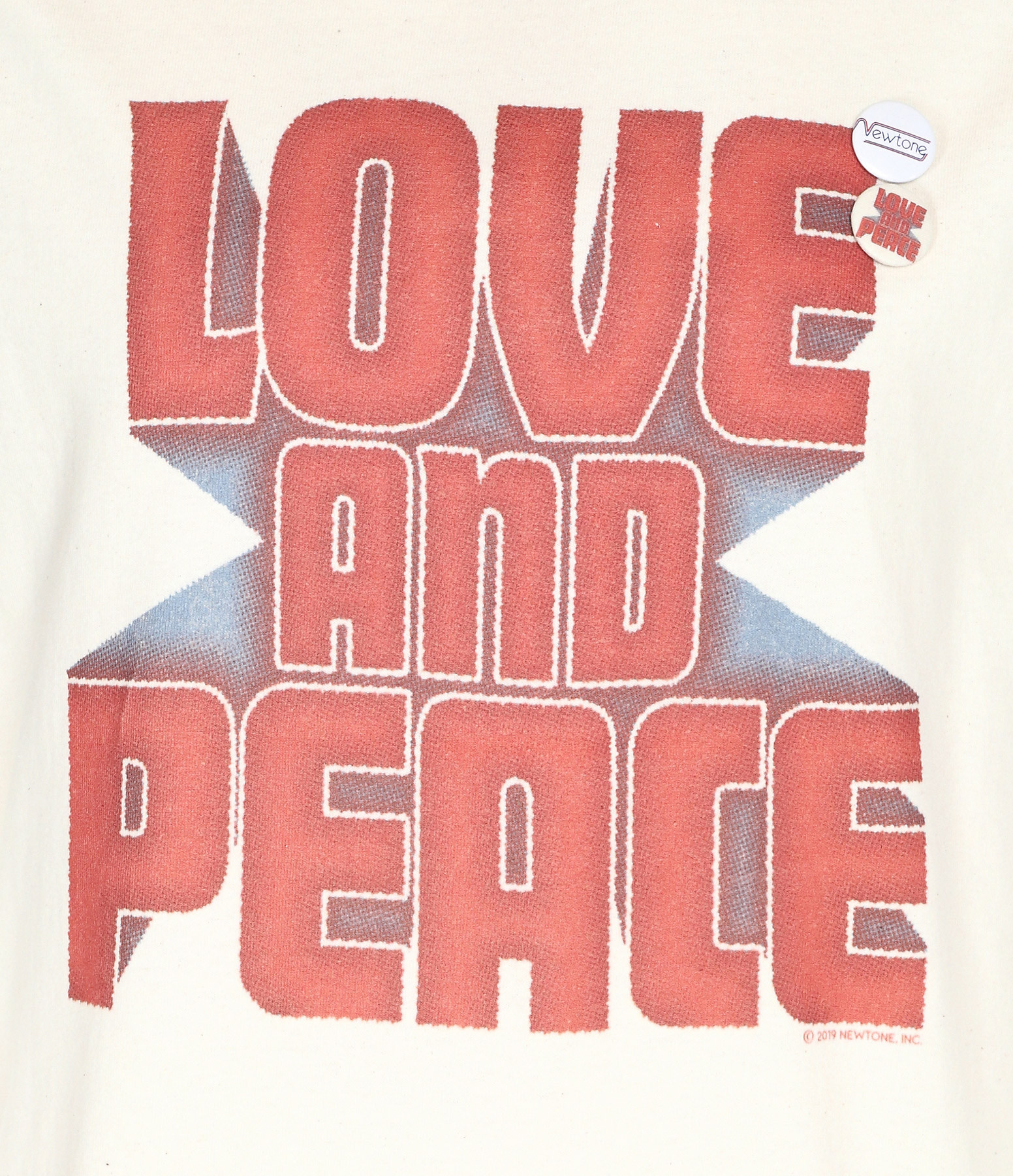 NEWTONE - Tee-shirt Peace and Love Coton Naturel