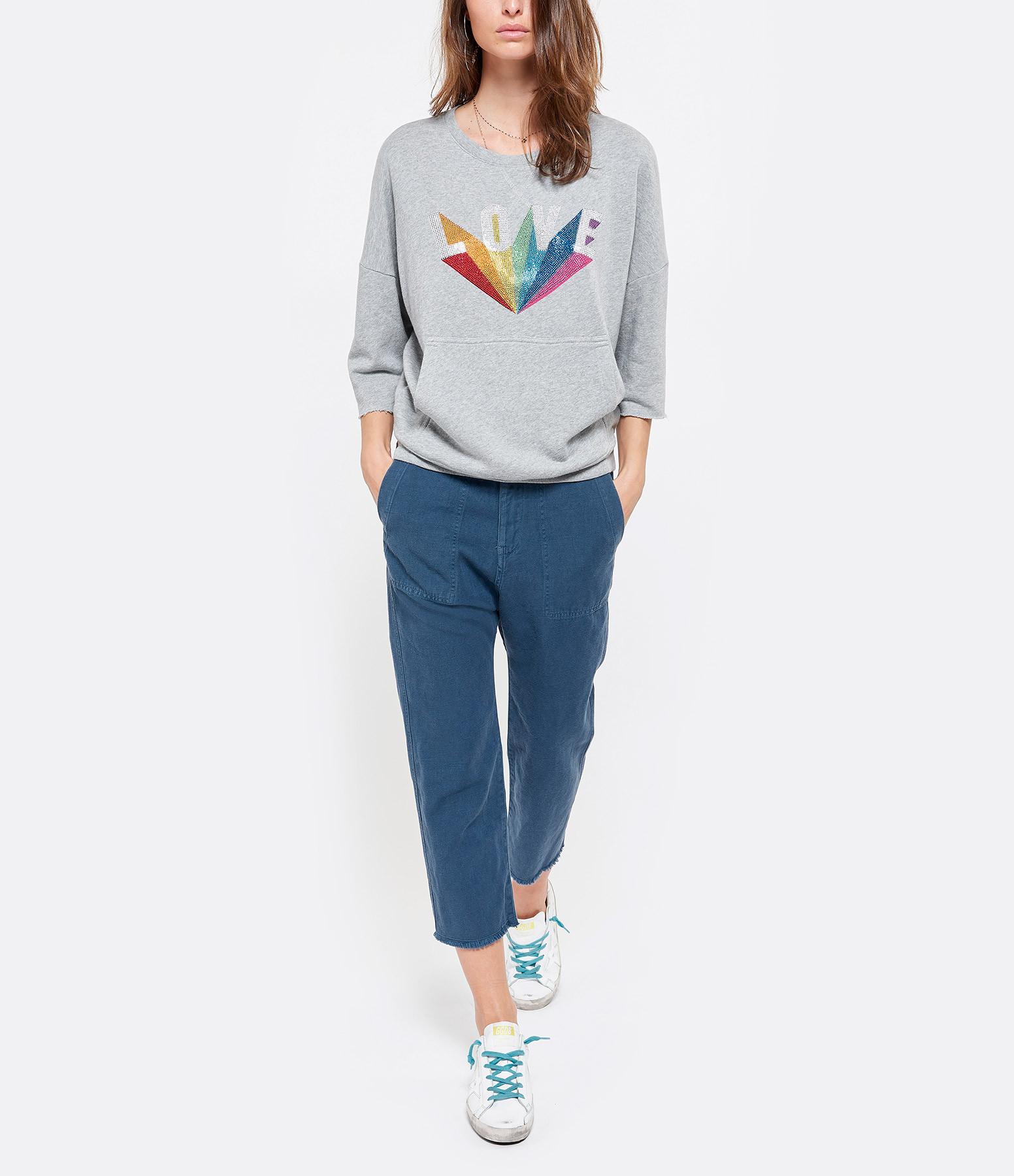 NILI LOTAN - Pantalon Luna Coton Lin Bleu Vintage