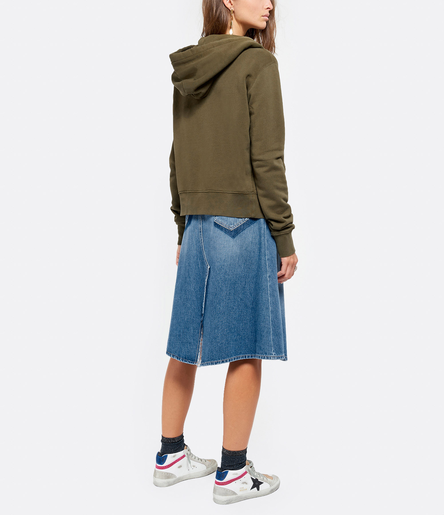 NILI LOTAN - Sweatshirt Zippé Callie Vert Army