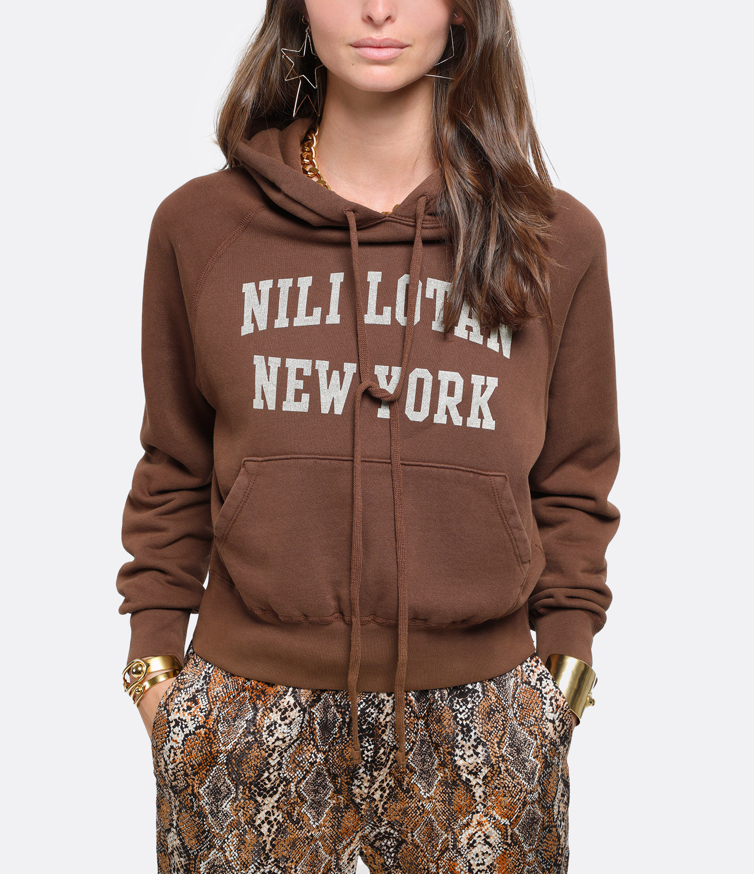 NILI LOTAN - Sweatshirt Nili Lotan New-York Imprimé Marron