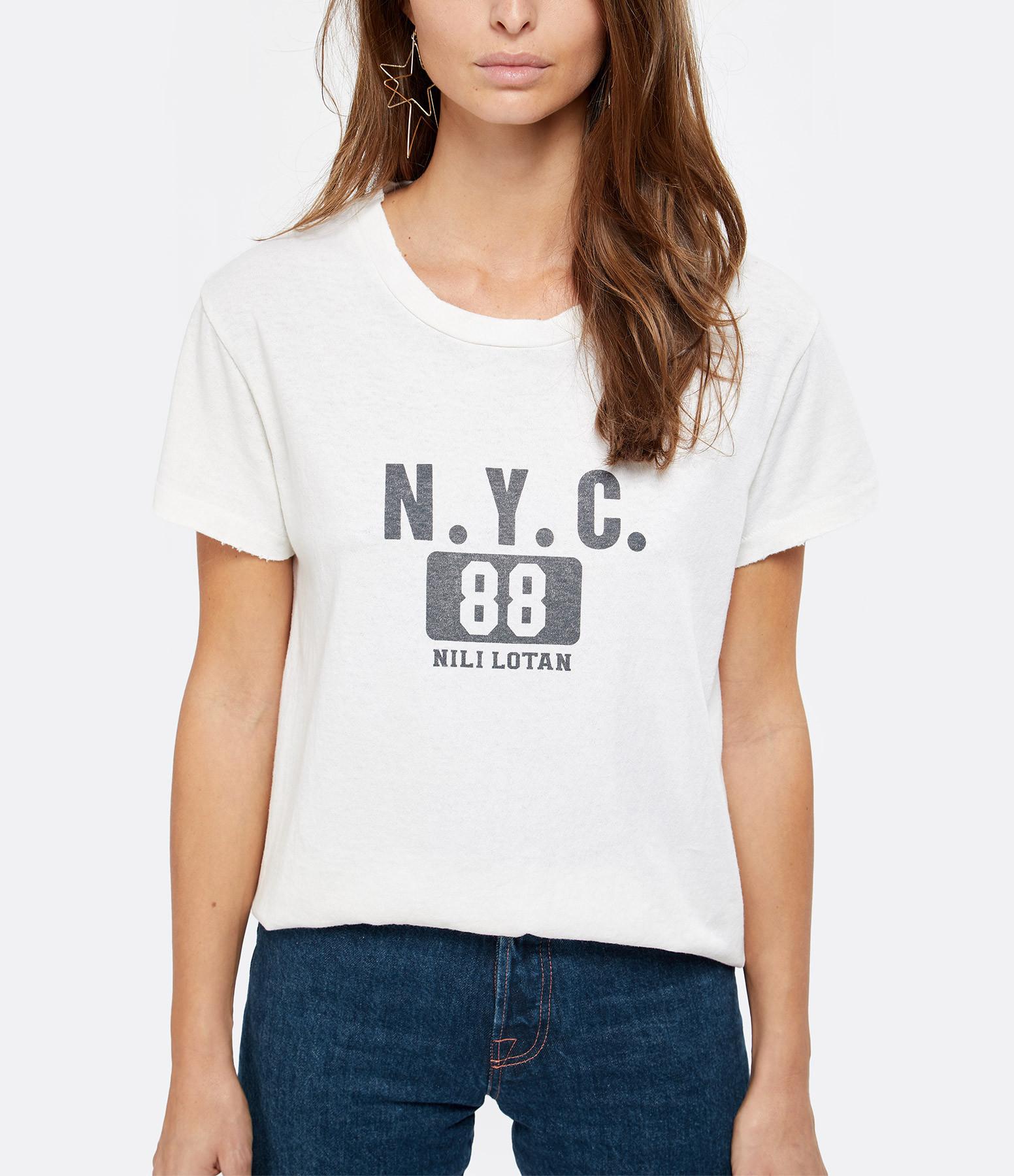 NILI LOTAN - Tee-shirt New-York 88 Imprimé Écru