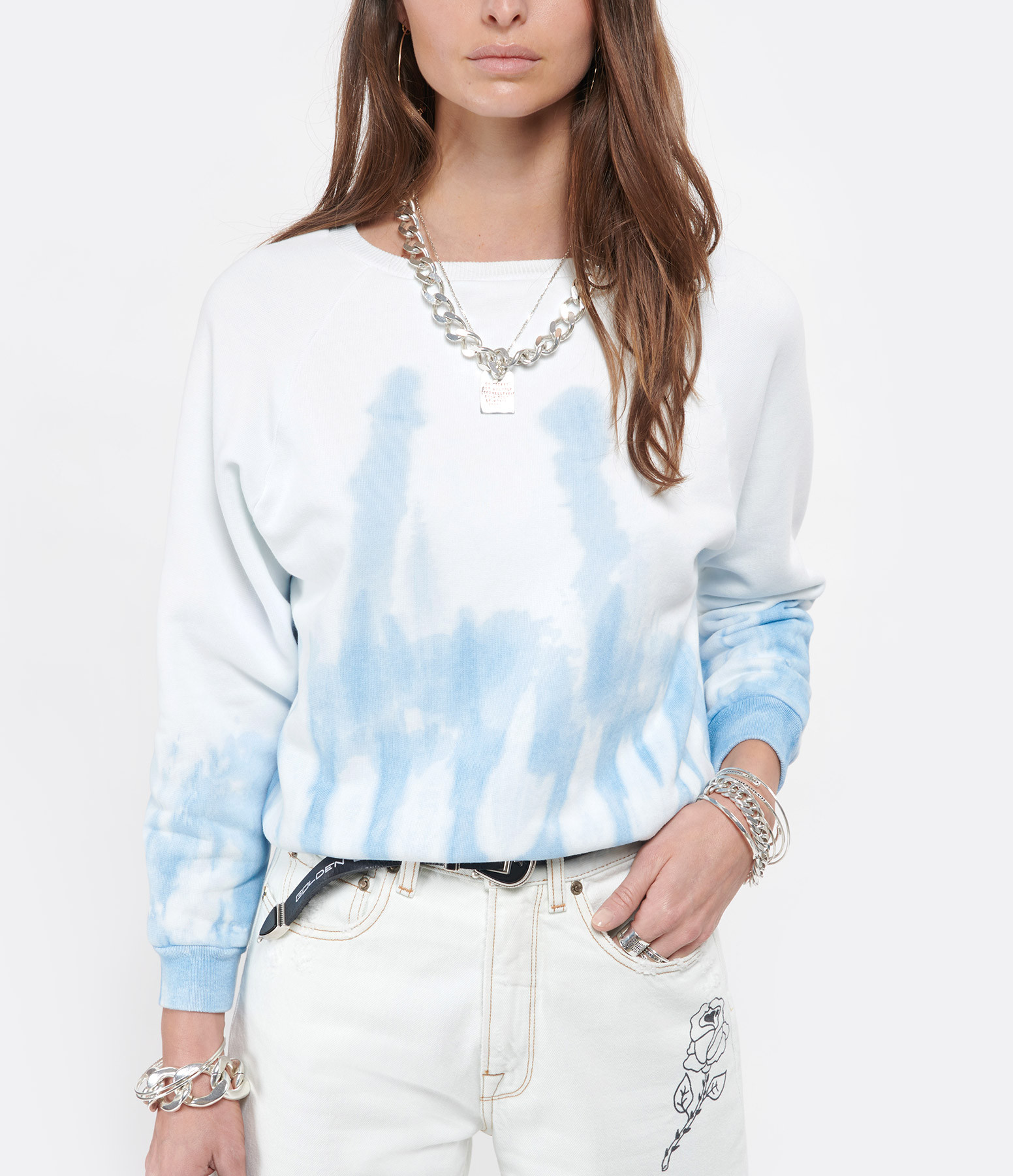NILI LOTAN - Sweatshirt Crew Tie and Dye Bleu
