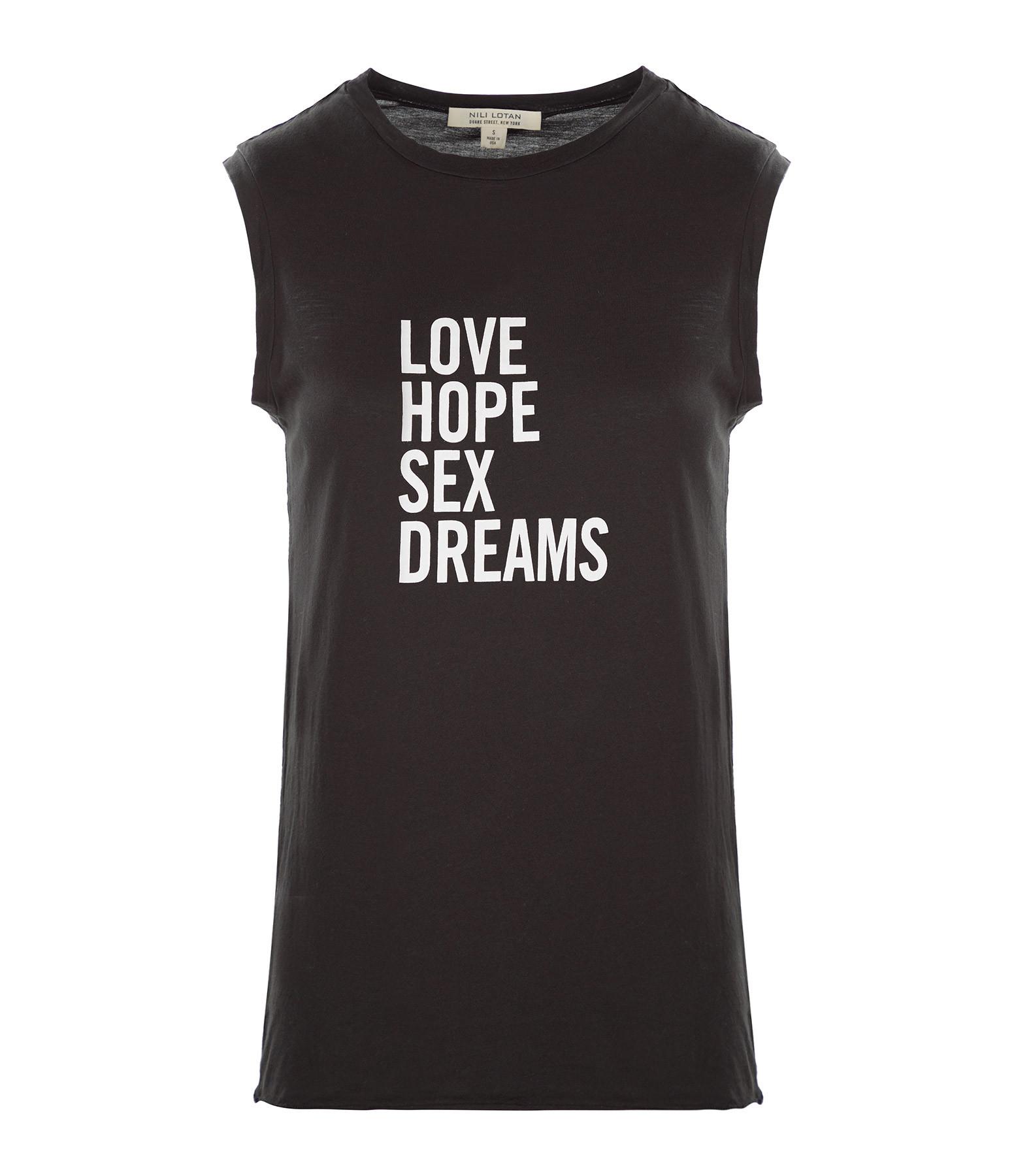 NILI LOTAN - Tee-shirt Love Hope Sex Coton Noir