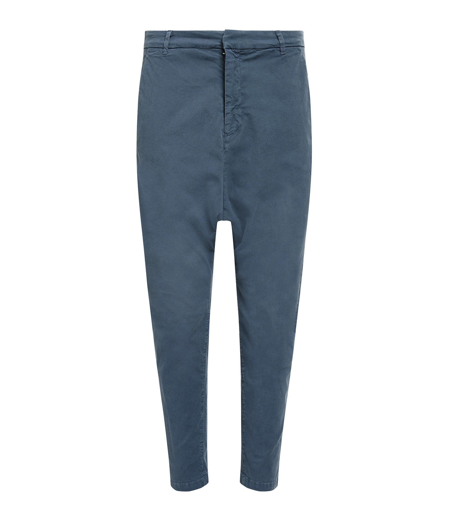 NILI LOTAN - Pantalon Paris Coton Bleu Vintage