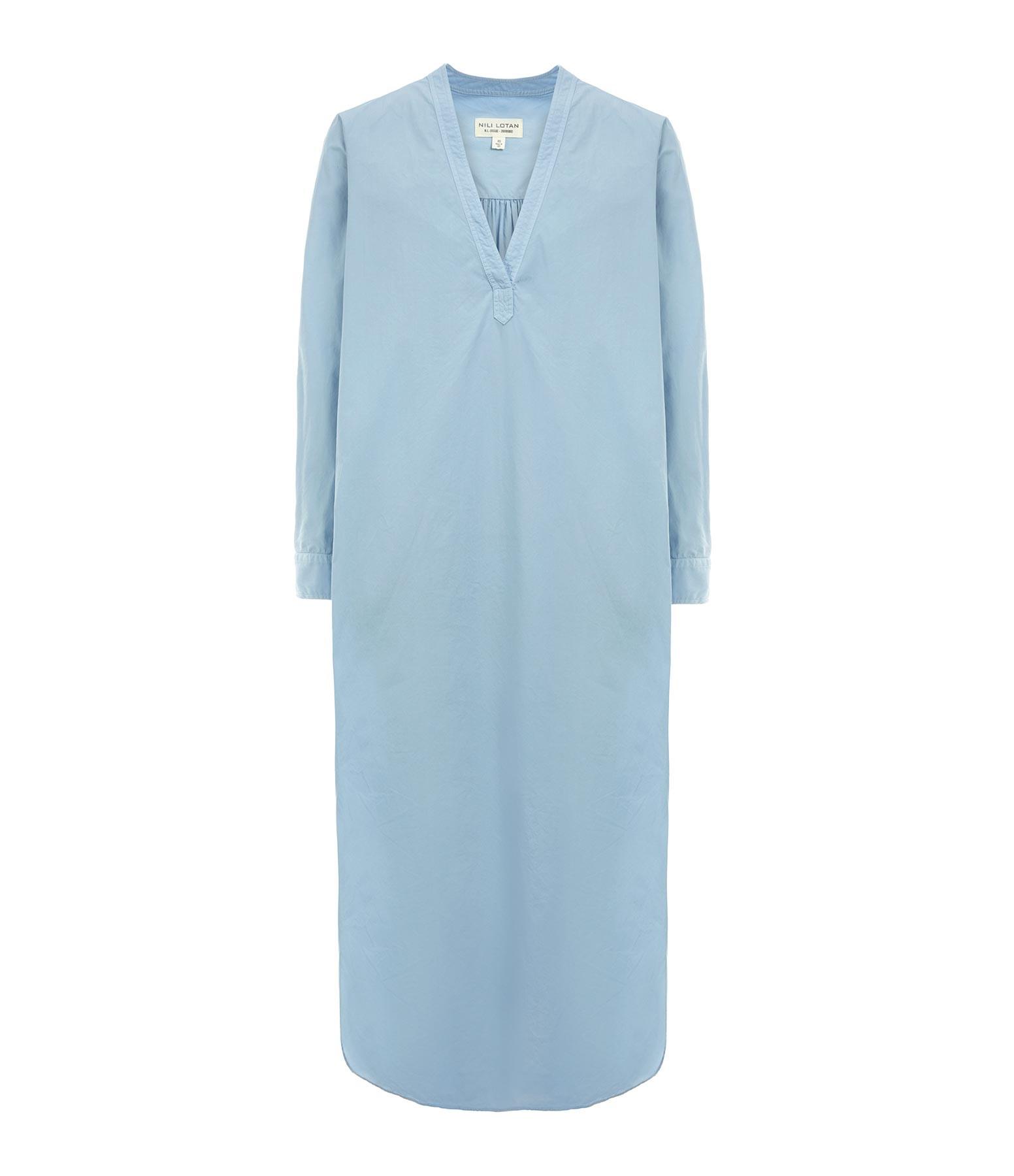 NILI LOTAN - Robe Raven Coton Bleu