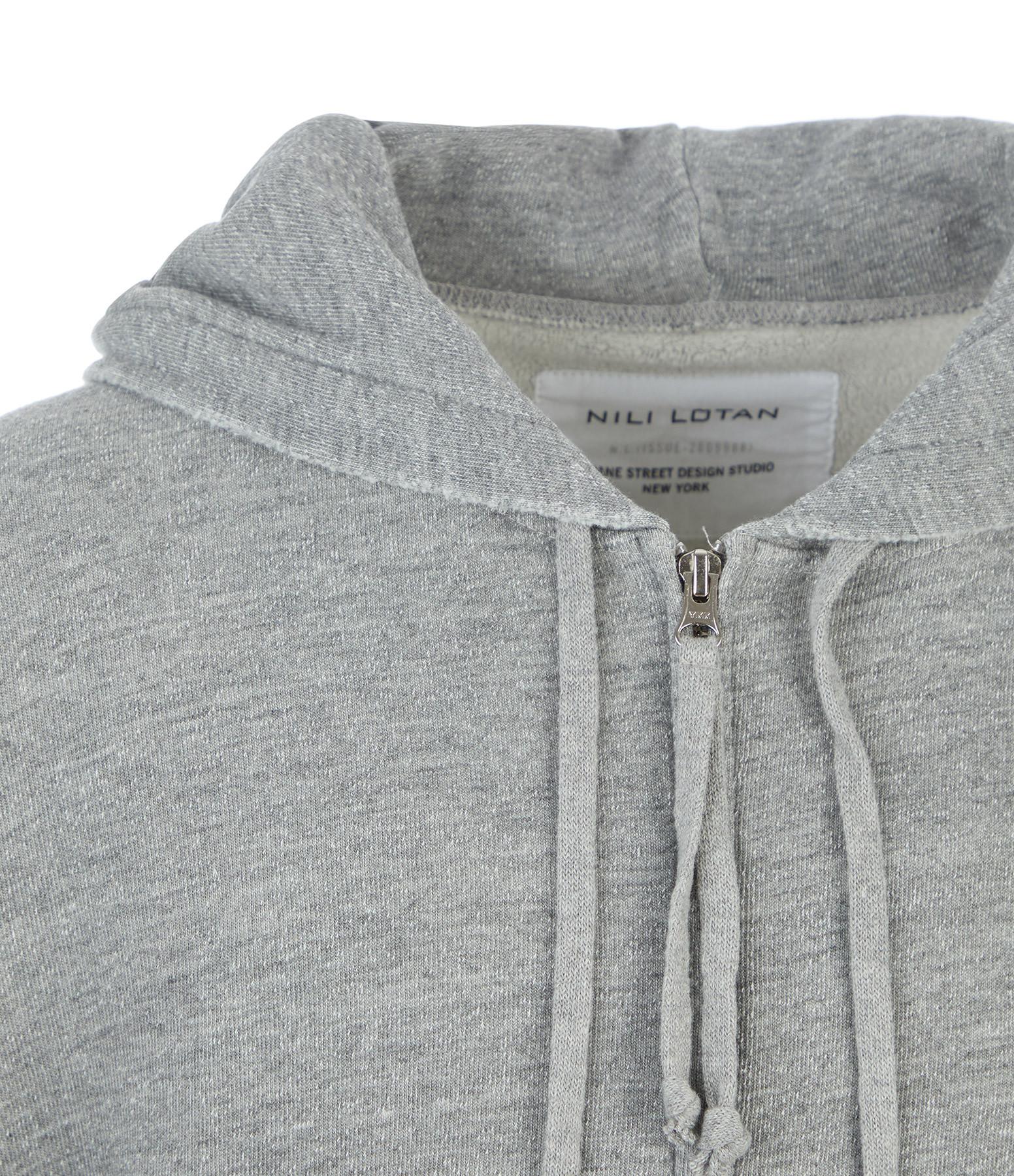 NILI LOTAN - Sweatshirt Zippé Callie Coton Gris Chiné