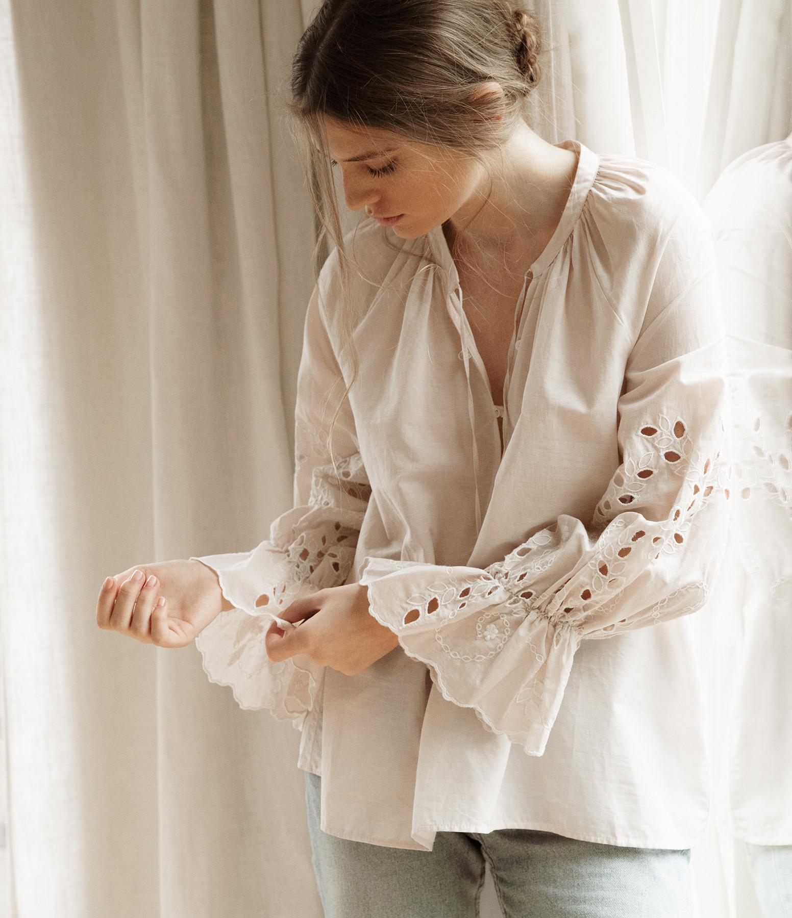 HANA SAN - Blouse Nori Coton Blanc