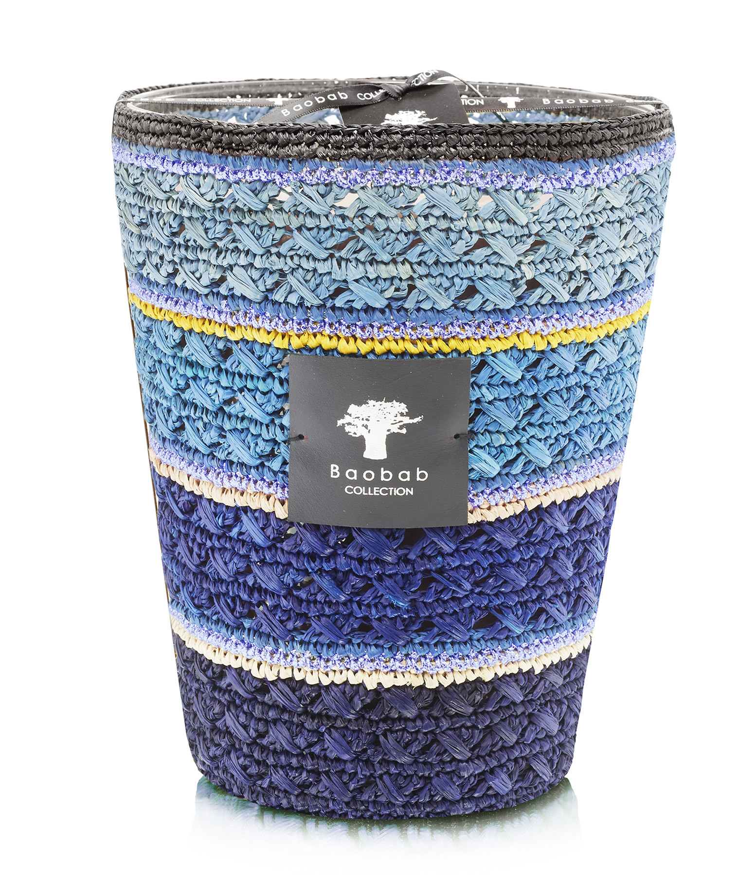 BAOBAB COLLECTION - Bougie Max 24 Tsiraka Raffia Nosy Be Bleu