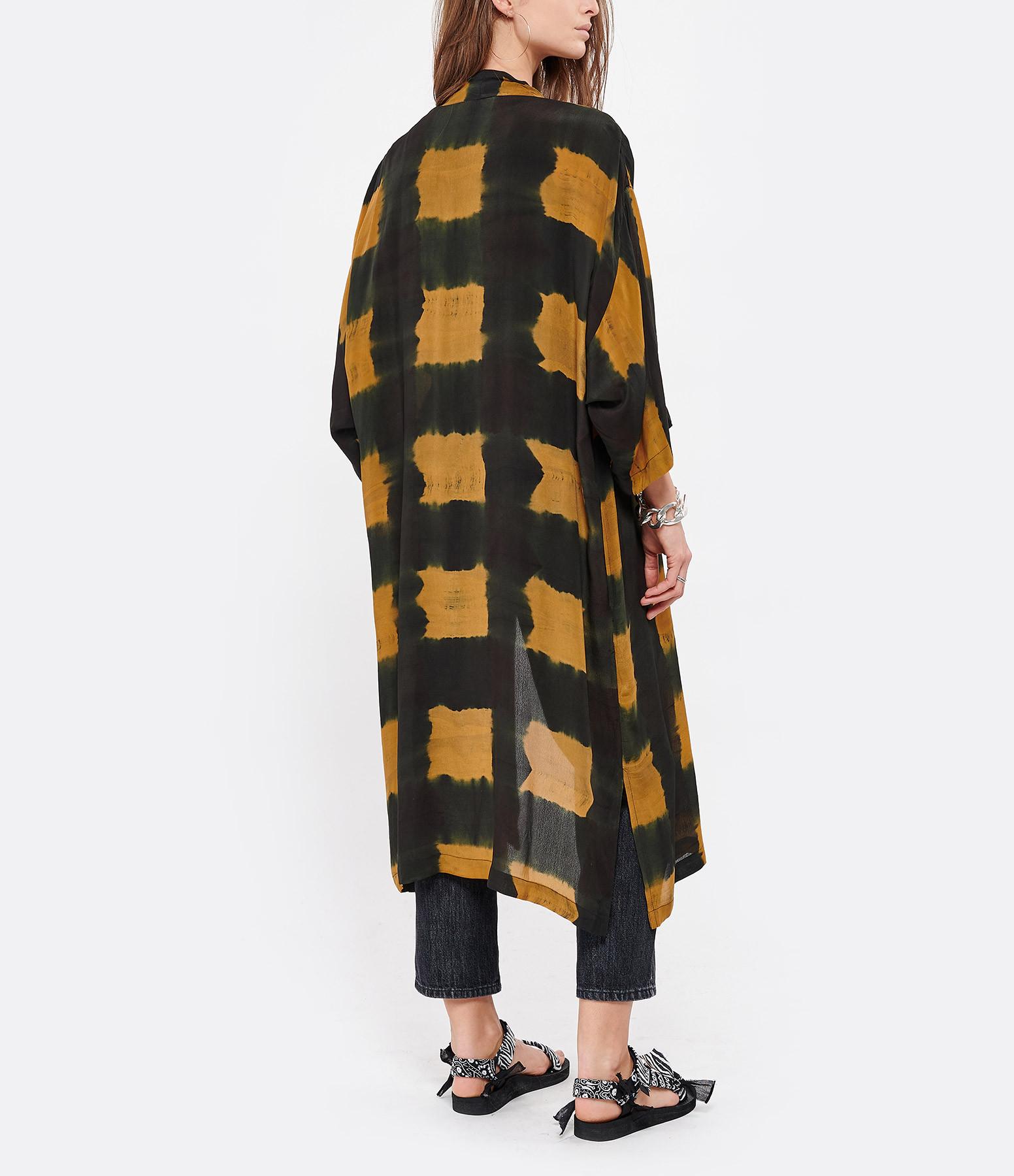 NOUS - Kimono Cléo Crêpe Gris Anthracite Caramel