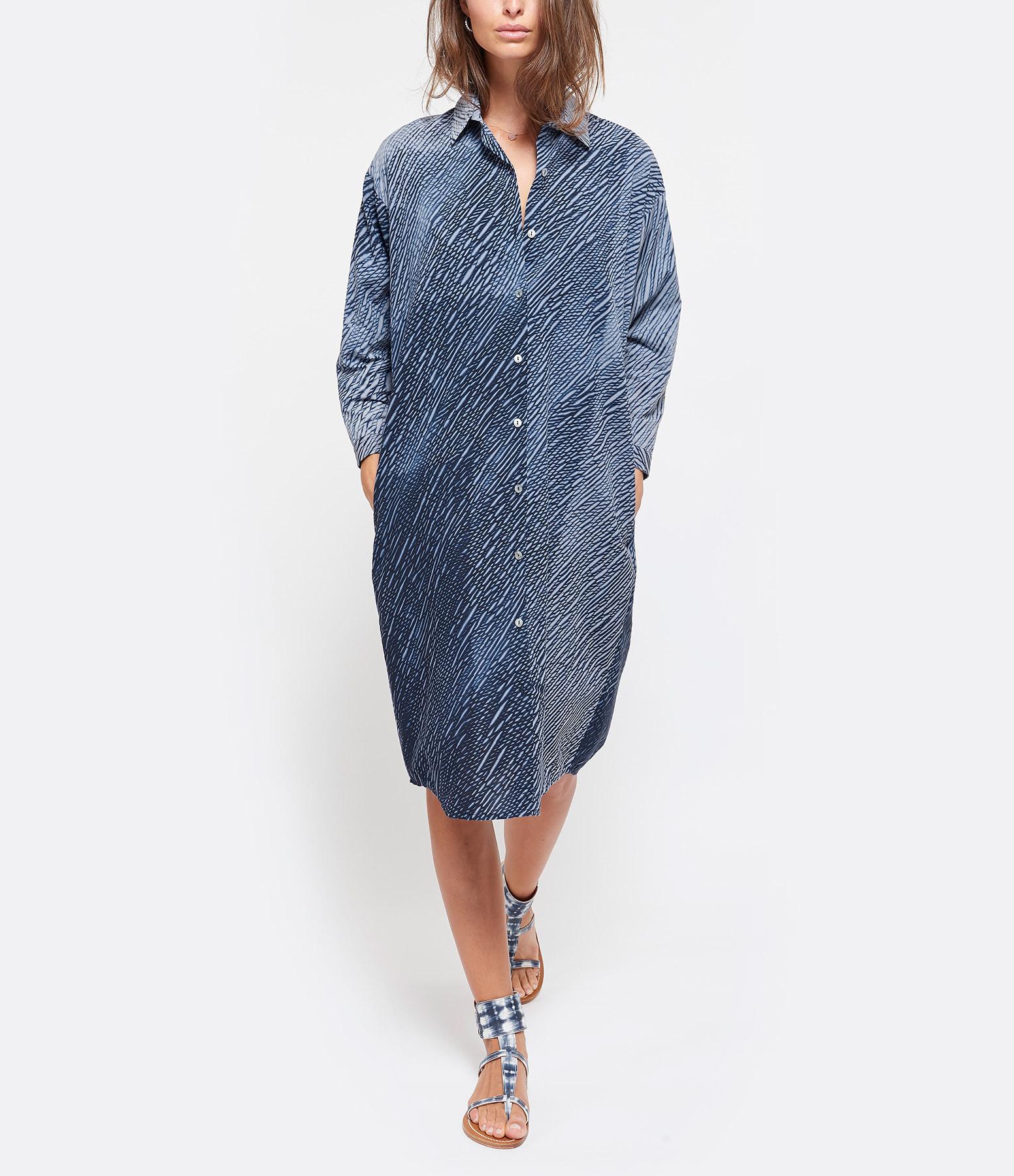 NOUS - Robe Florence Popeline Coton Indigo Blanc