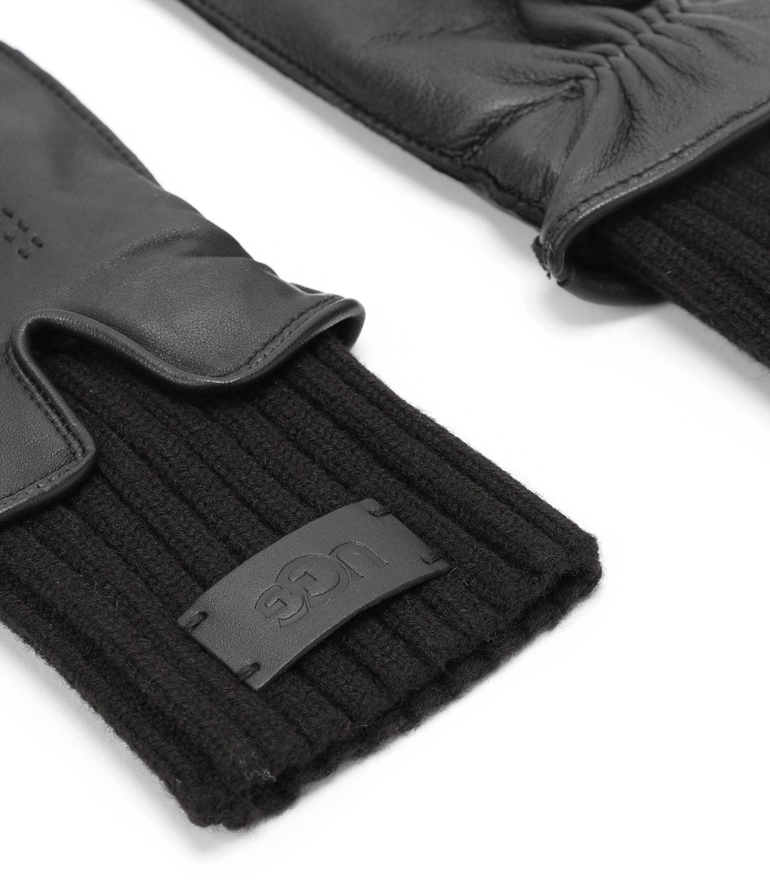 UGG - Gants Logo Cuir Tech & Knit Noir