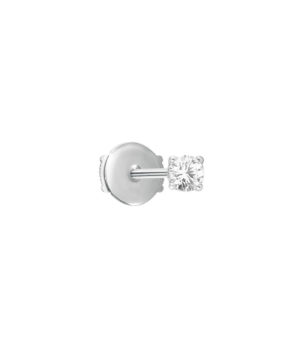 VANRYCKE - Boucle d'oreille Valentine Puce Or Blanc Diamant (vendue à l'unité)