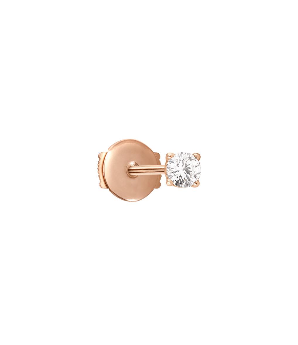 VANRYCKE - Boucle d'oreille Valentine Puce Or Rose Diamant (vendue à l'unité)