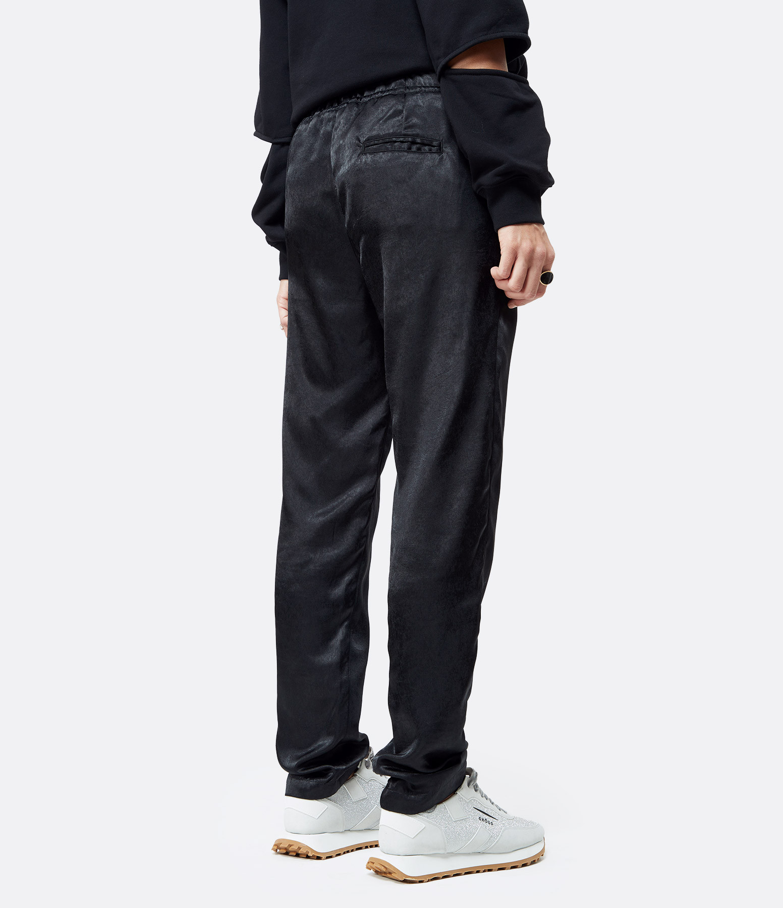 OVERLOVER - Pantalon Yucca Satin Noir