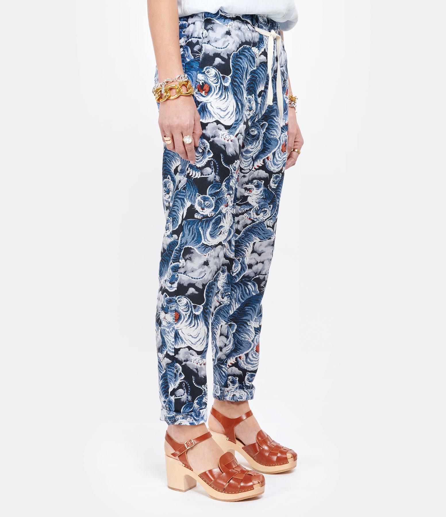 OVERLOVER - Pantalon Yucca Lin Tiger Blue Imprimé