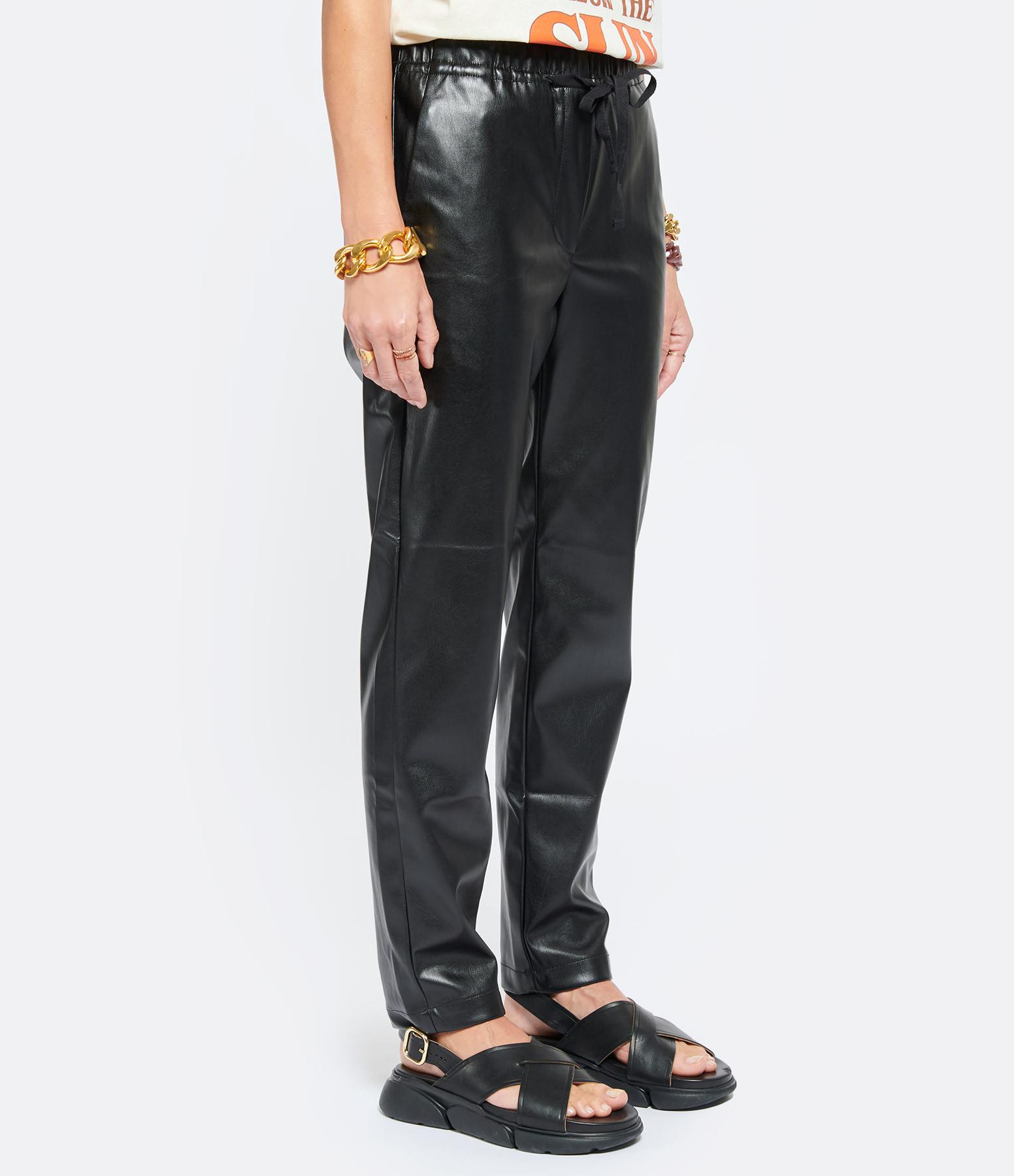 OVERLOVER - Pantalon Yucca Cuir Noir
