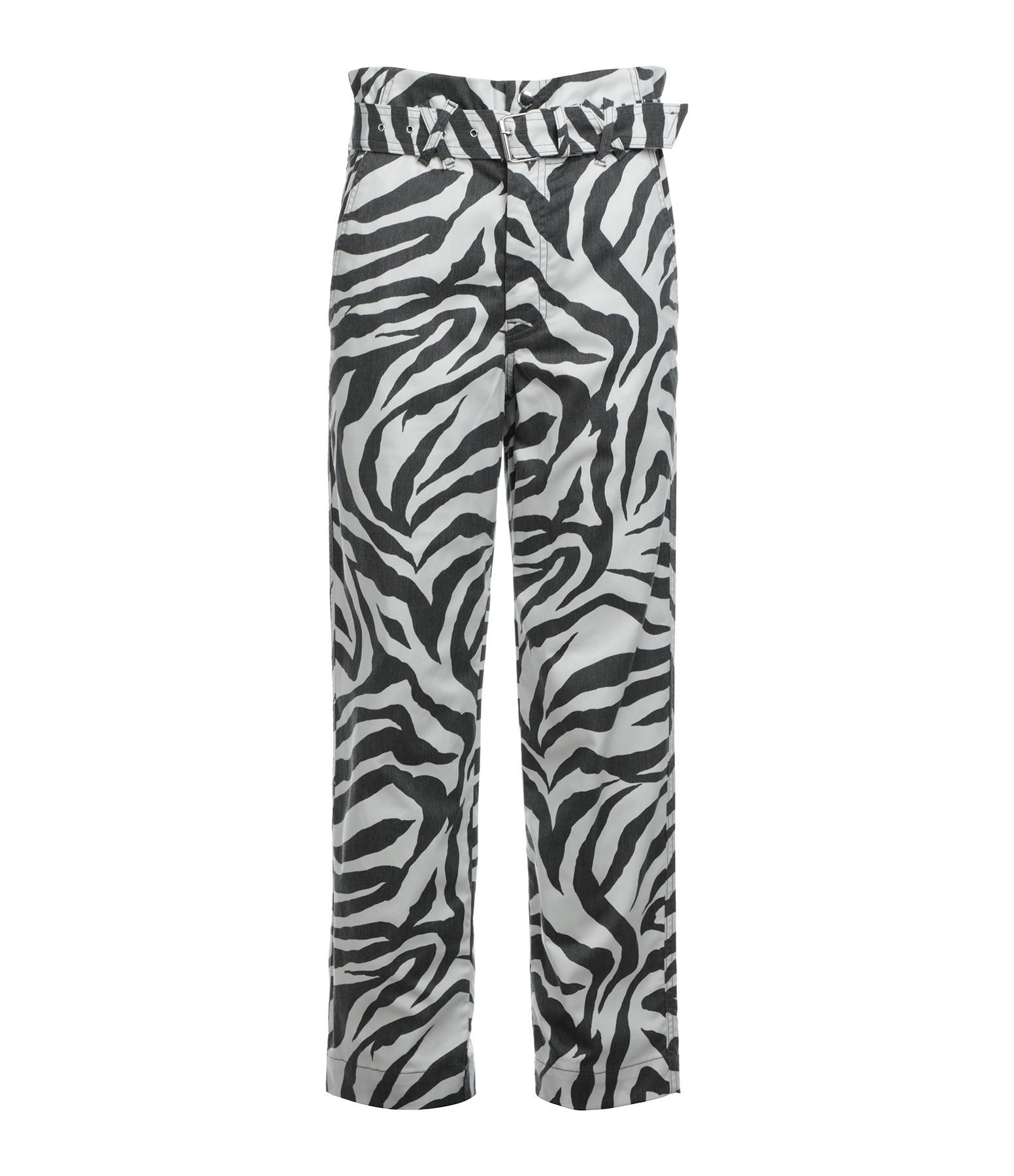 OVERLOVER - Pantalon Carlyle Coton Noir Blanc Imprimé Zèbre