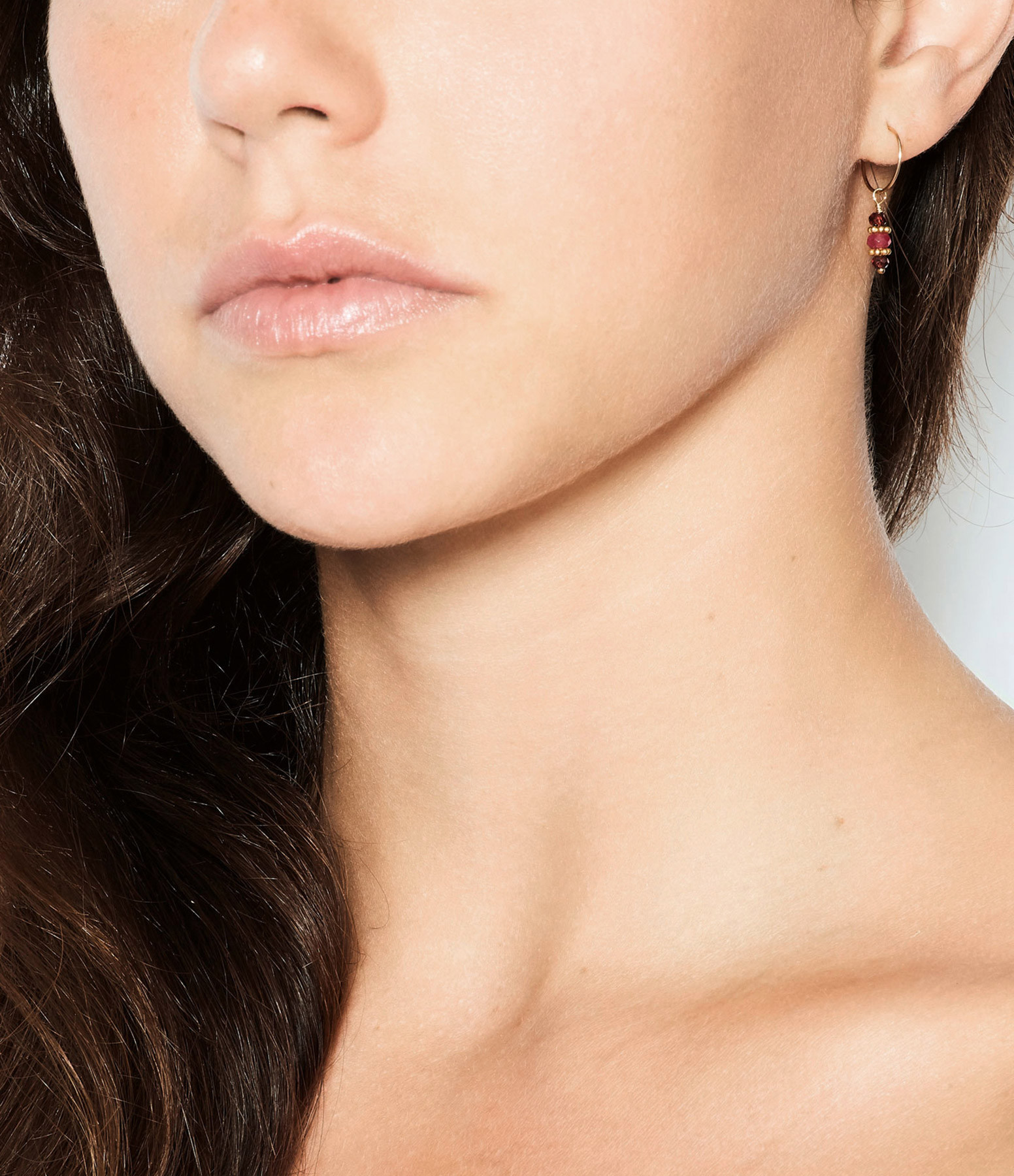 TITYARAVY - Boucles d'oreilles Padma Agate Rose Plaqué Or