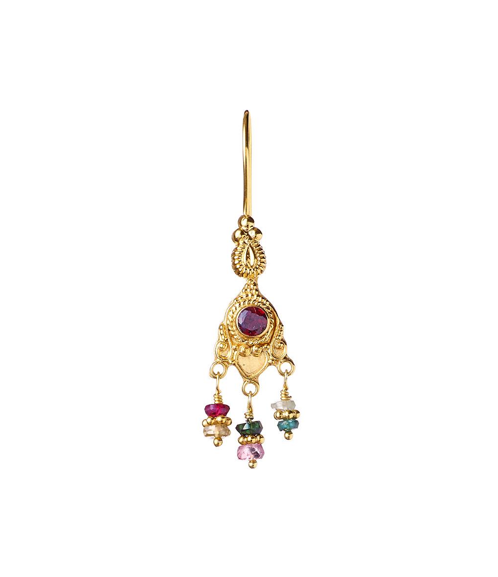 TITYARAVY - Boucle d'oreille Padma Grenat Plaqué Or (vendue à l'unité)