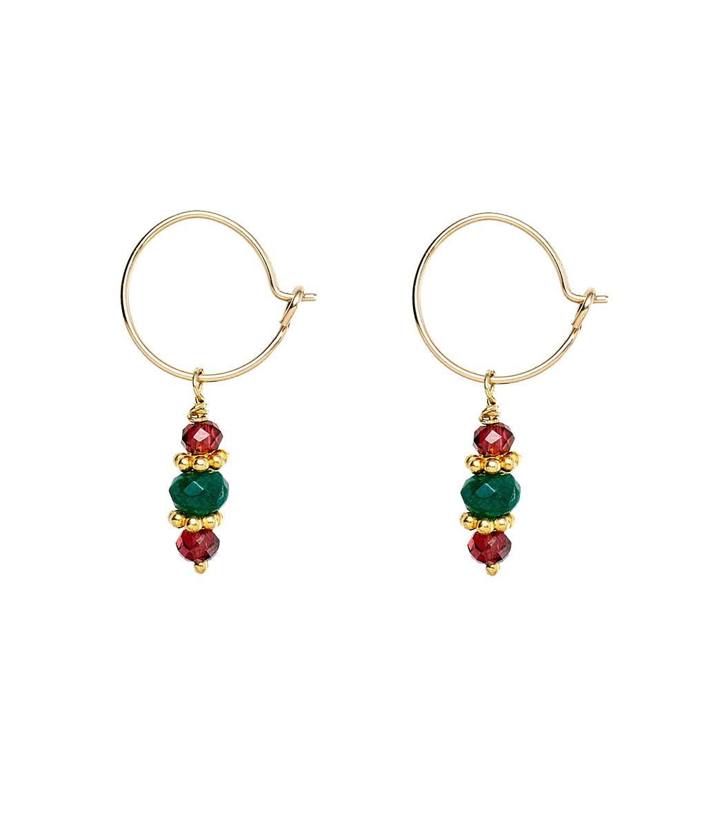 TITYARAVY - Boucles d'oreilles Padma Agate Verte Plaqué Or