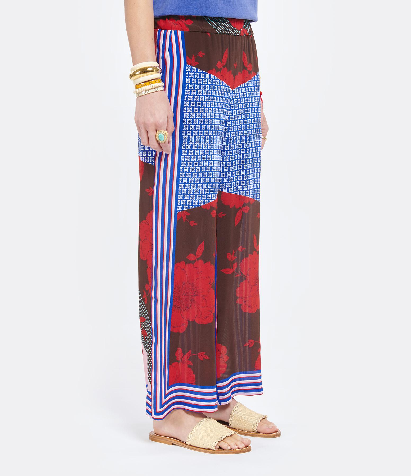 P.A.R.O.S.H. - Pantalon Safix Soie Imprimé Rouge