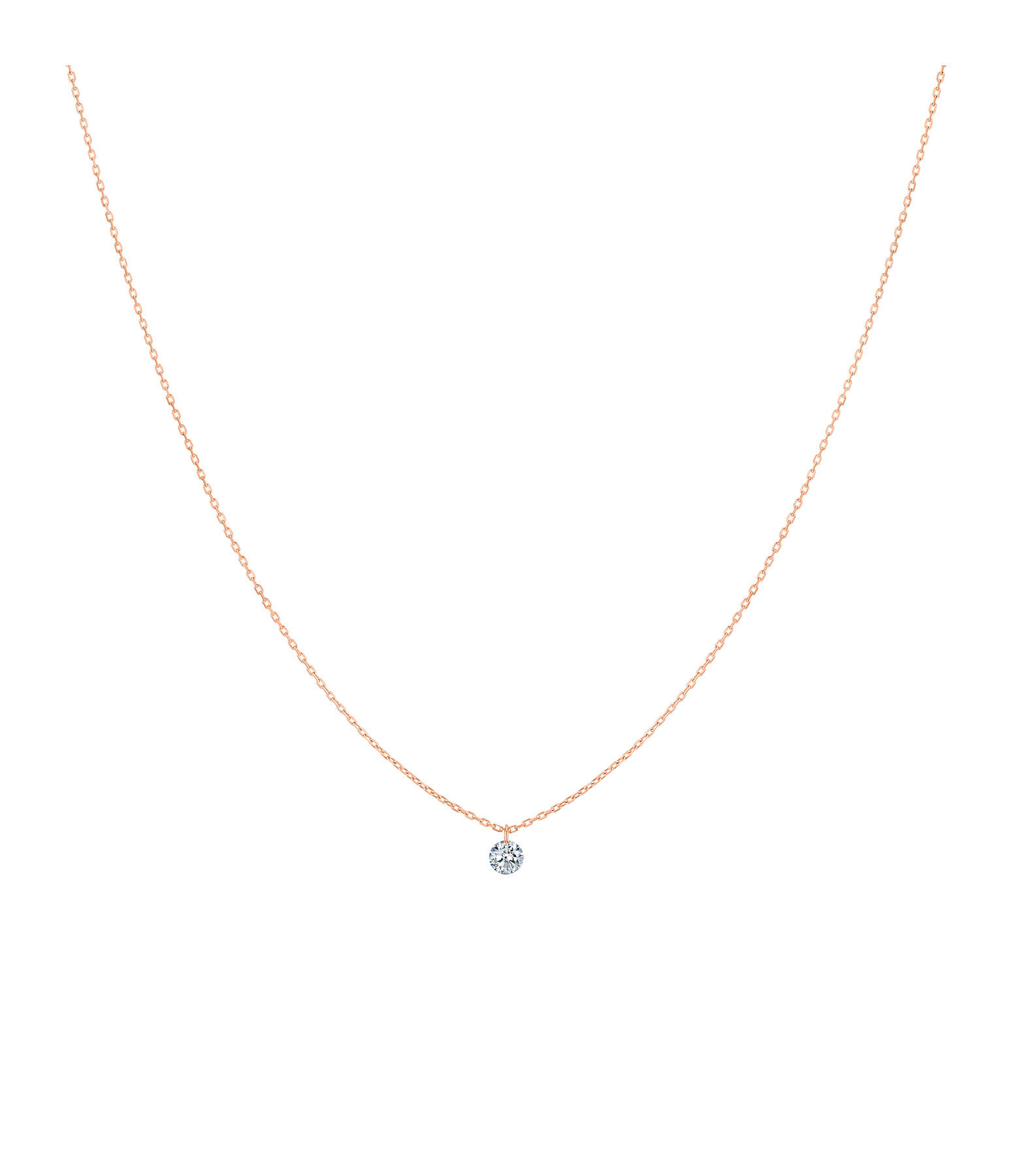 LA BRUNE & LA BLONDE - Collier 360° Diamant Brillant 0,10 Or Rose