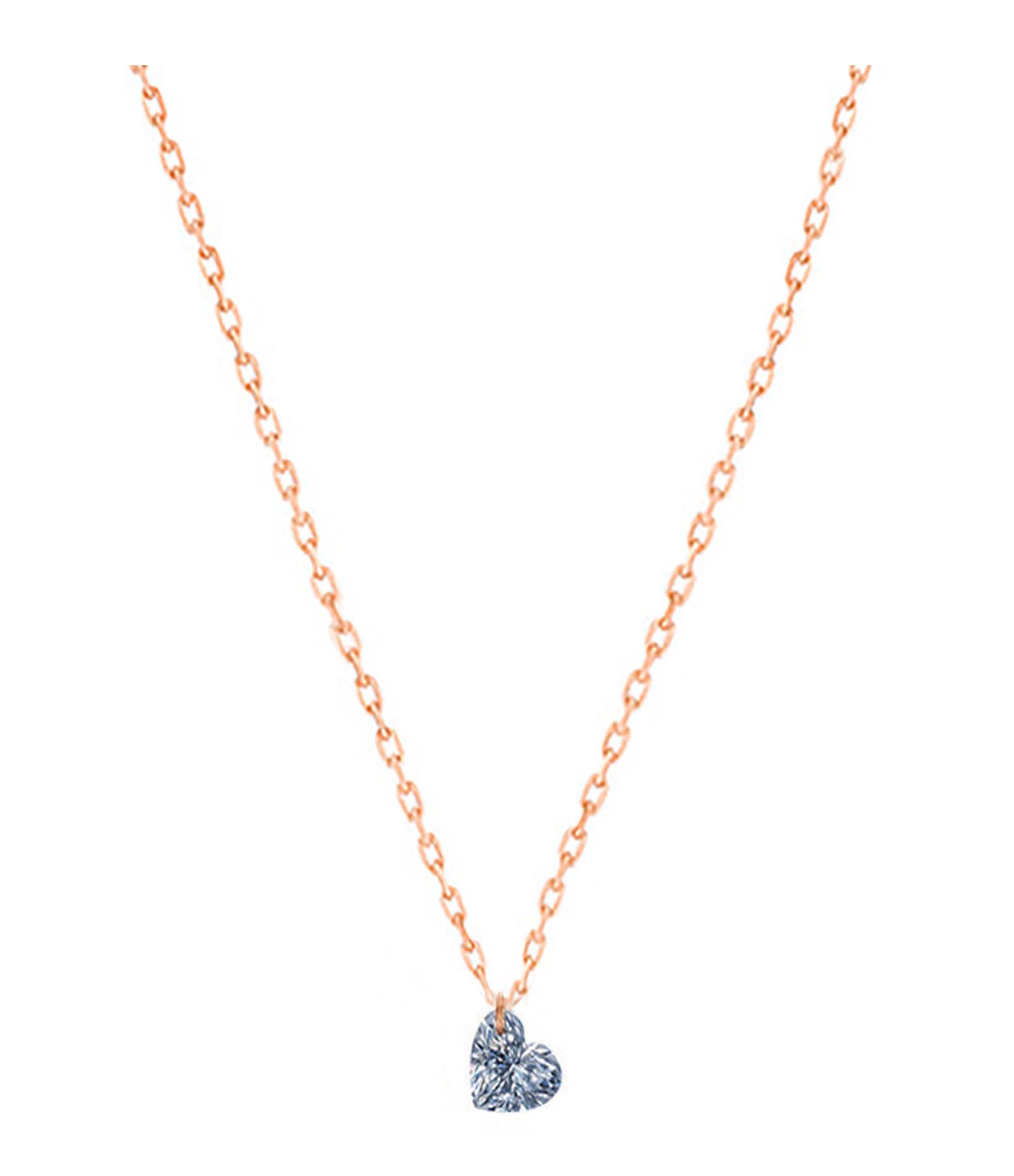LA BRUNE & LA BLONDE - Collier 360° Cœur Diamant 0,15 Or Rose