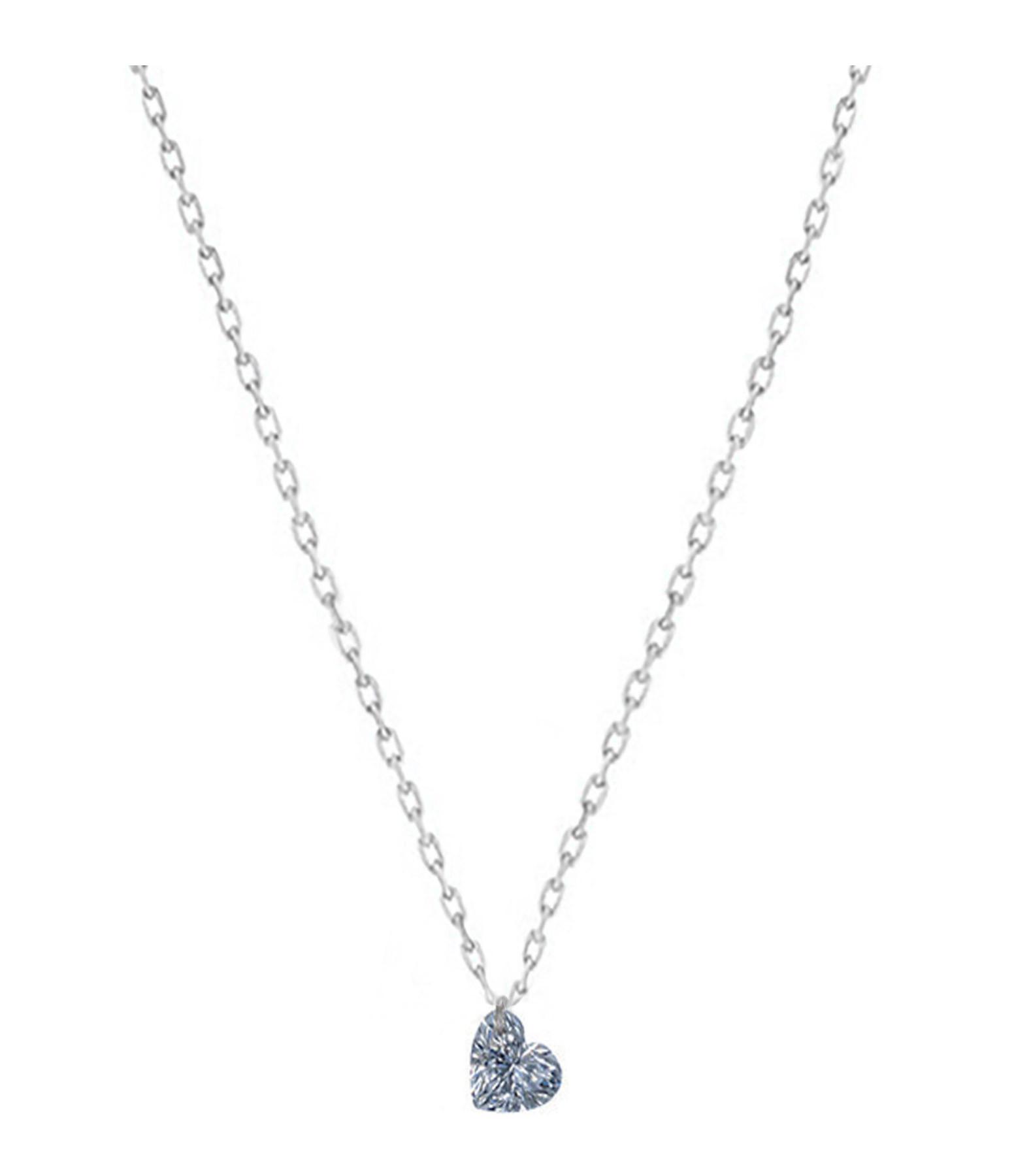 LA BRUNE & LA BLONDE - Collier 360° Cœur Diamant 0,15 Or Blanc