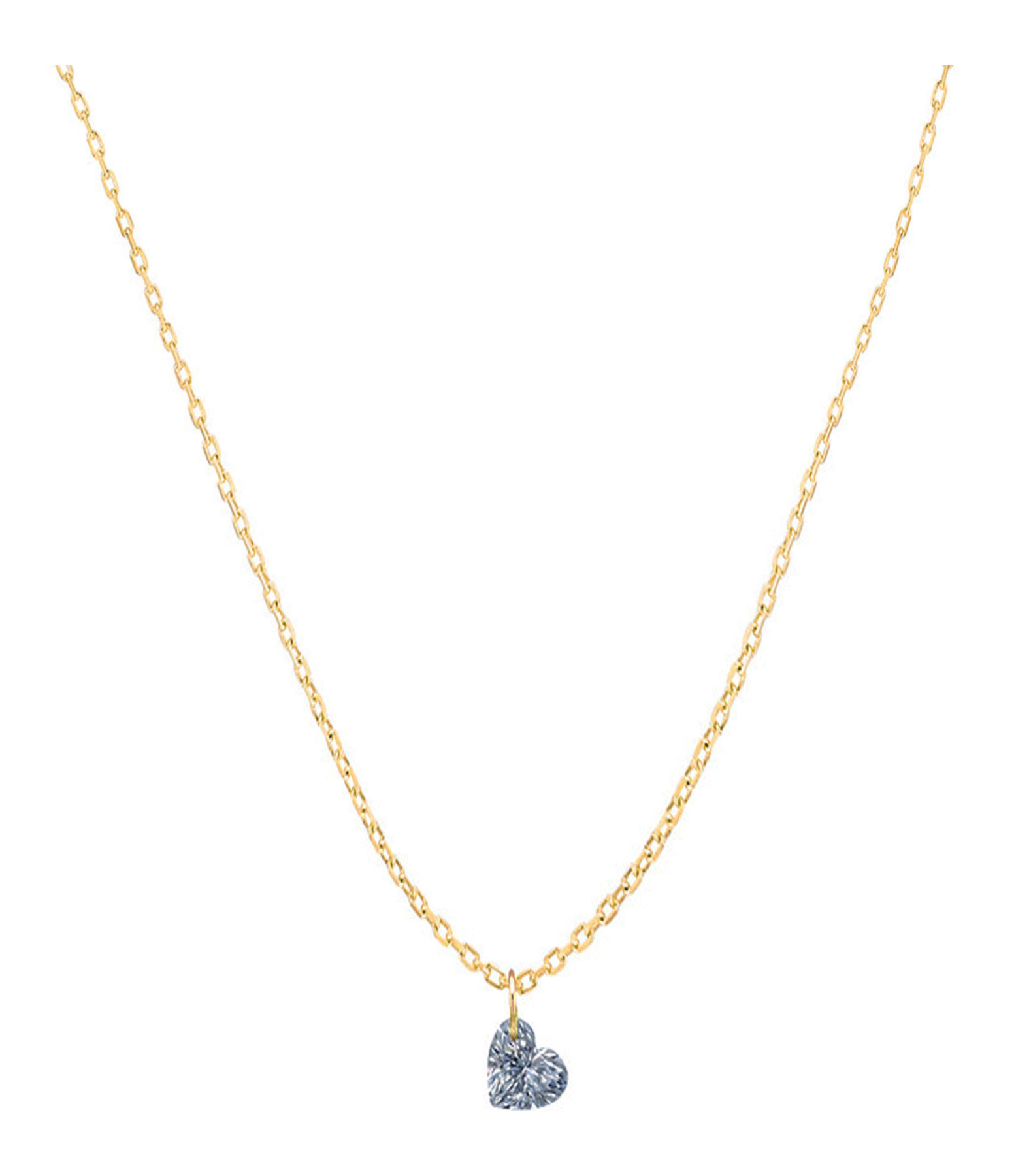 LA BRUNE & LA BLONDE - Collier 360° Cœur Diamant 0,15 Or Jaune