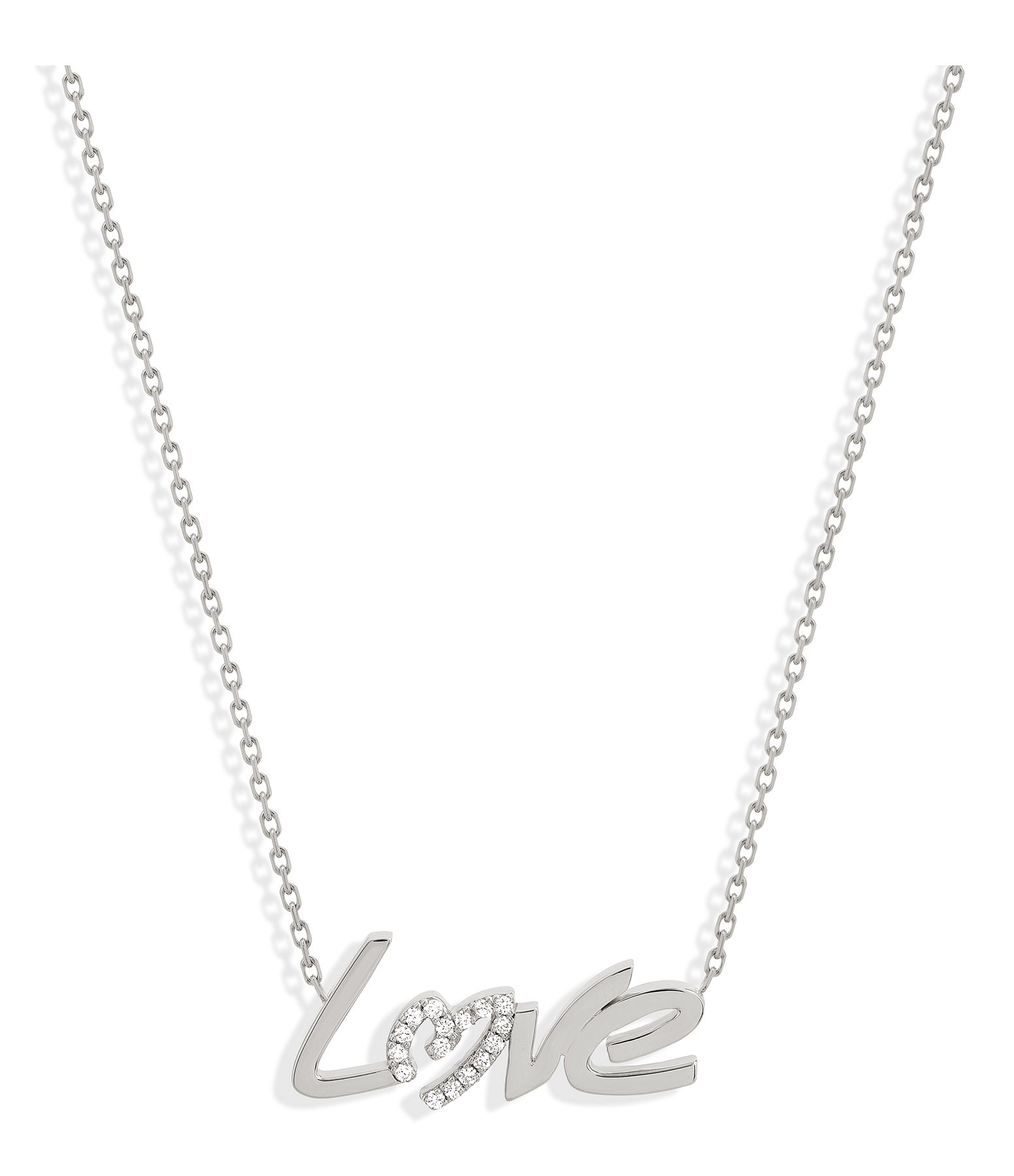 NAVA JOAILLERIE - Collier Love Diamant Or Blanc