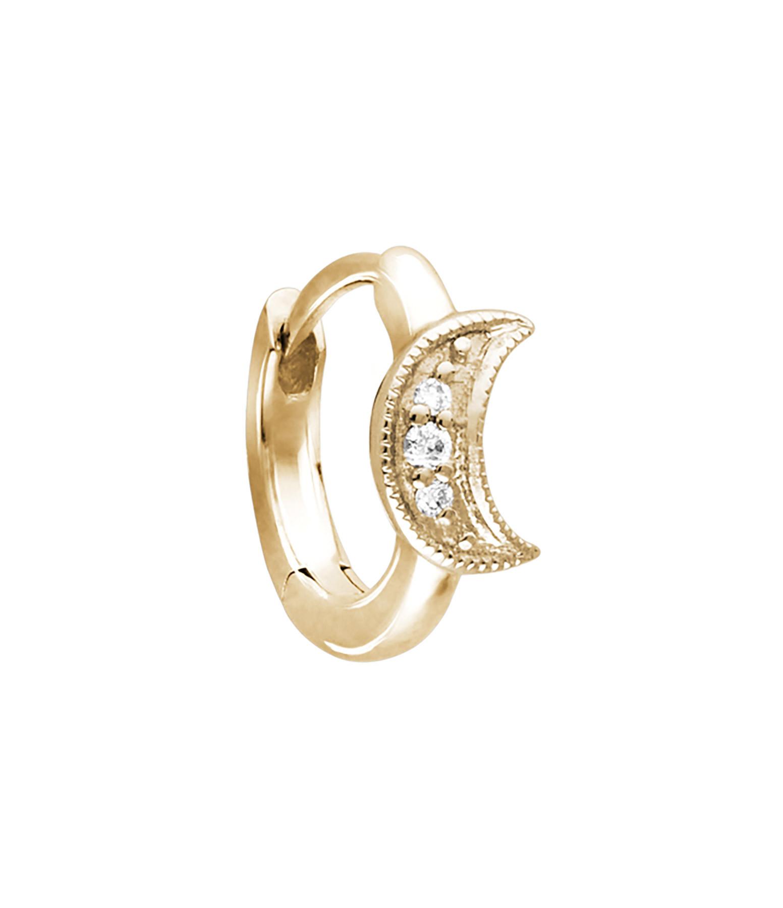 STONE PARIS - Mini Créole Petite Lune Or Diamants (vendue à l'unité)