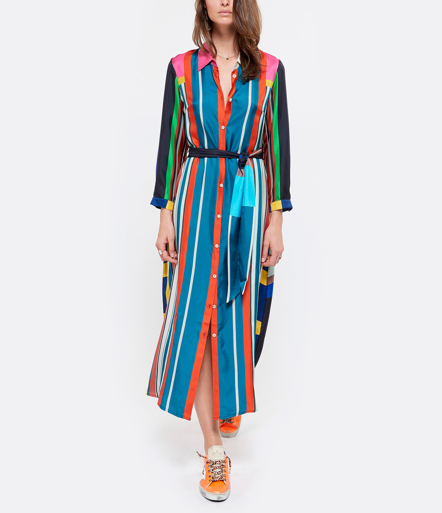 PIERRE-LOUIS MASCIA - Robe Aloe Soie Rayures Multicolore