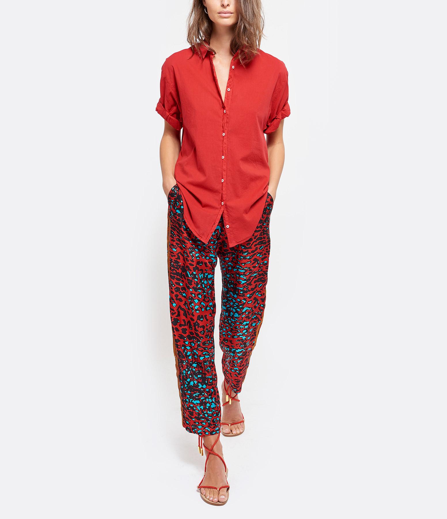 PIERRE-LOUIS MASCIA - Pantalon Aloe Soie Rouge Léopard